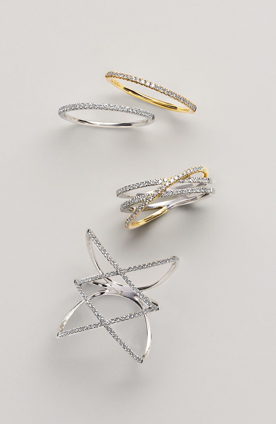 Diamond Double Crisscross Ring,                             Alternate thumbnail 3, color,                             WHITE GOLD
