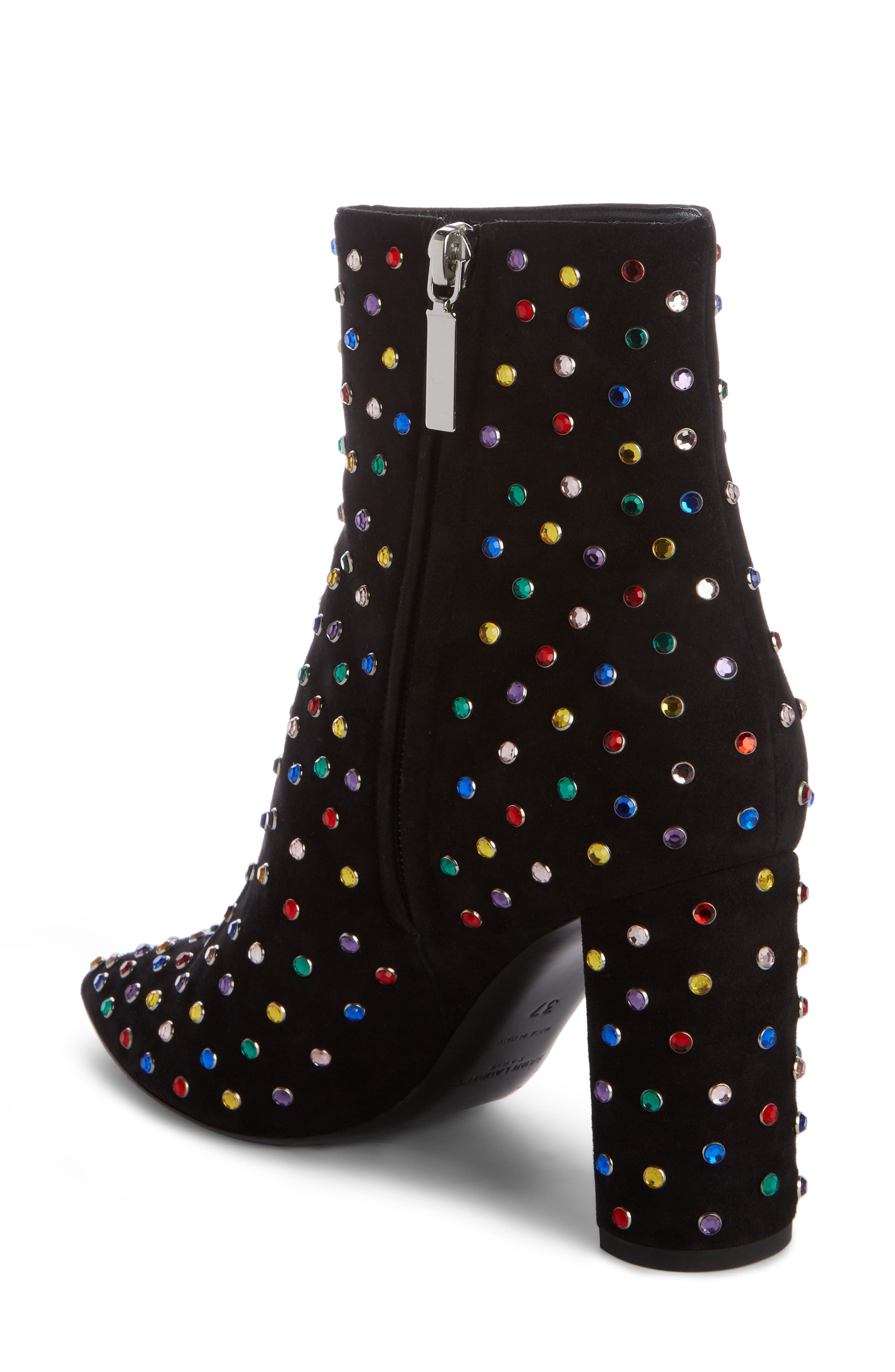 Betty Crystal Stud Pointy Toe Bootie,                             Alternate thumbnail 2, color,                             BLACK