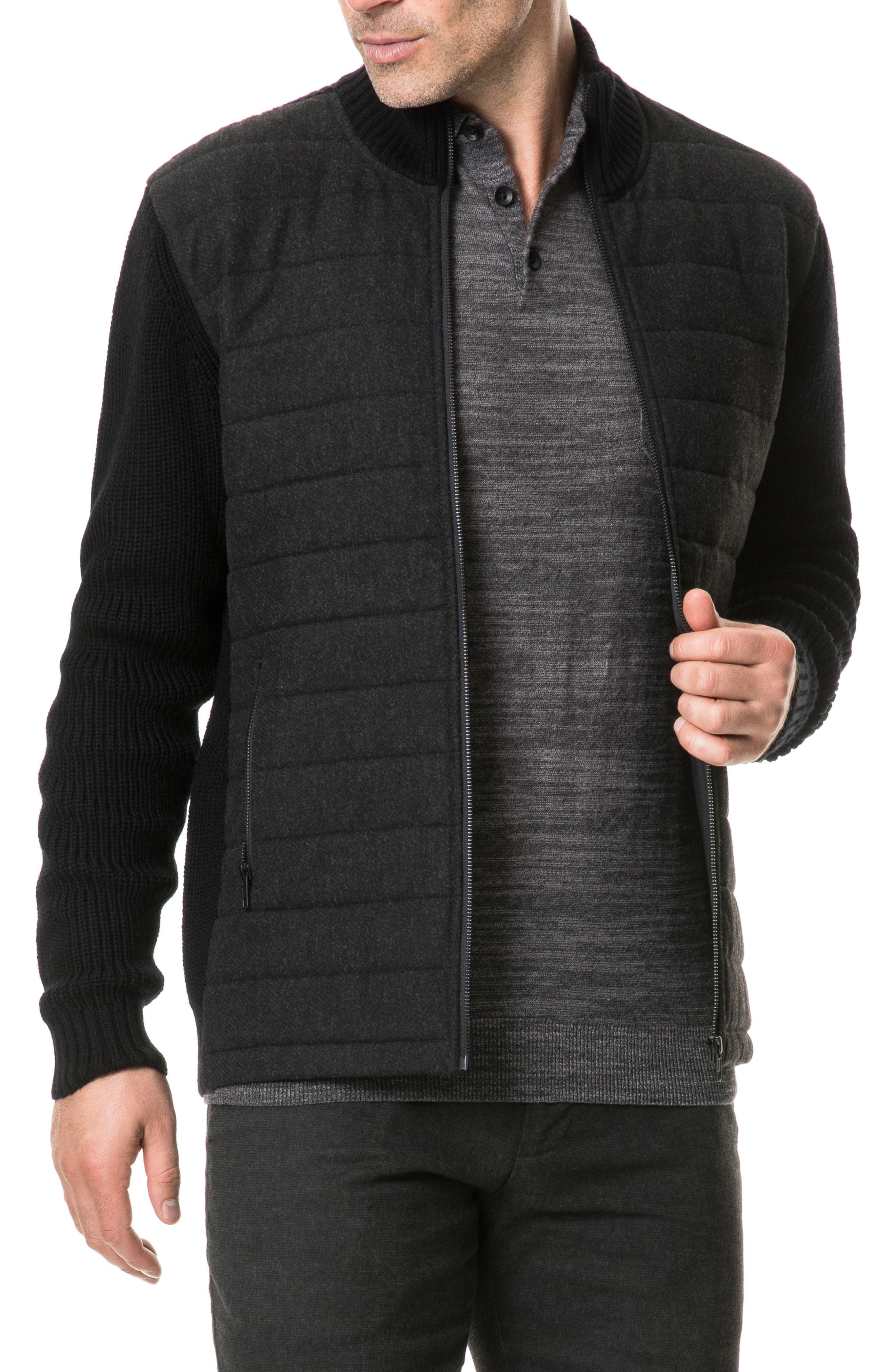 Greerton Regular Fit Zip Sweater,                             Alternate thumbnail 4, color,                             ONYX