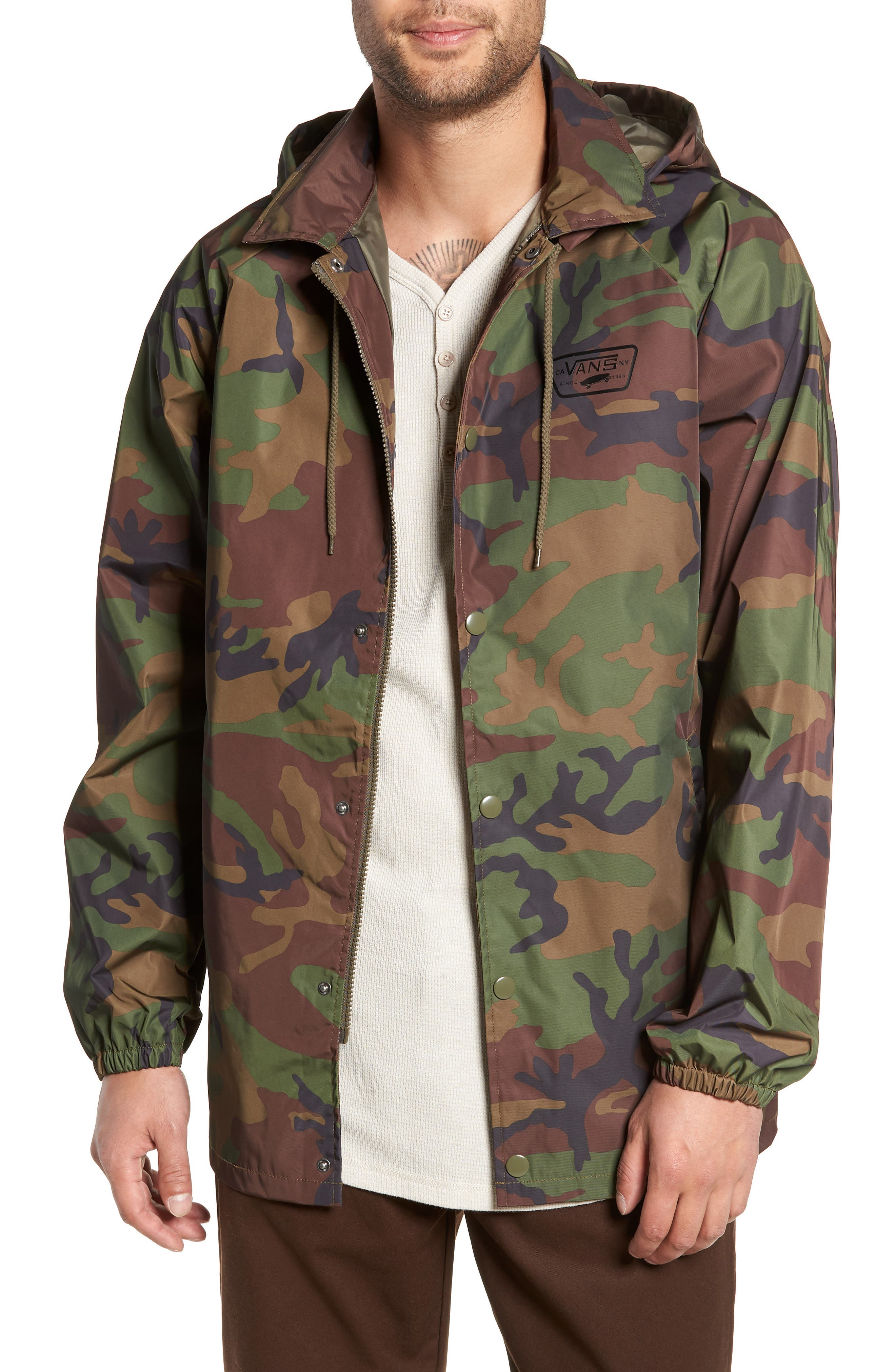 Torrey Water-Resistant Jacket with Detachable Hood,                             Main thumbnail 1, color,                             CAMO