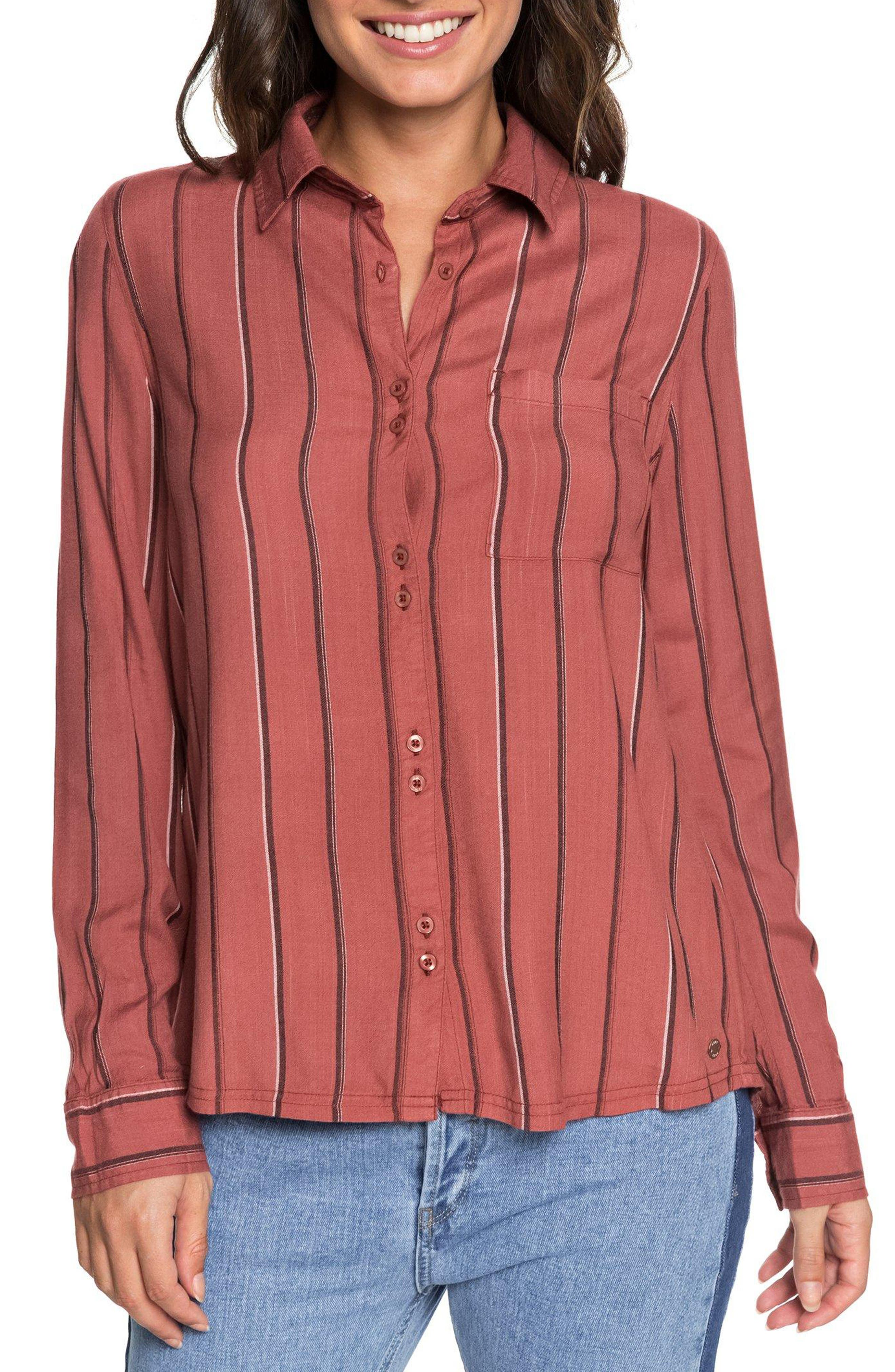 Concrete Streets Stripe Shirt,                             Main thumbnail 1, color,                             WITHERED ROSE