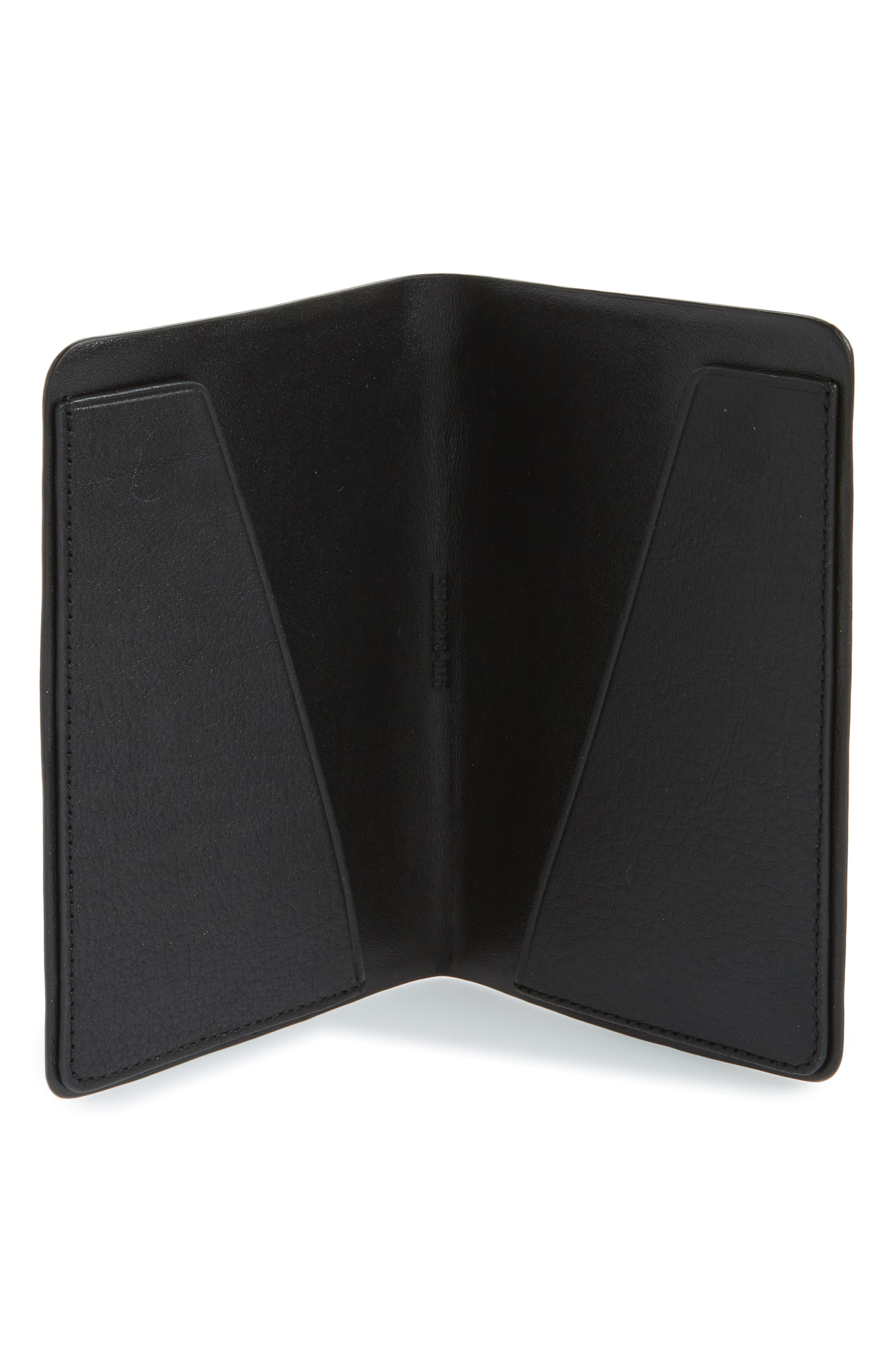 Leather Passport Holder,                             Alternate thumbnail 2, color,                             BLACK