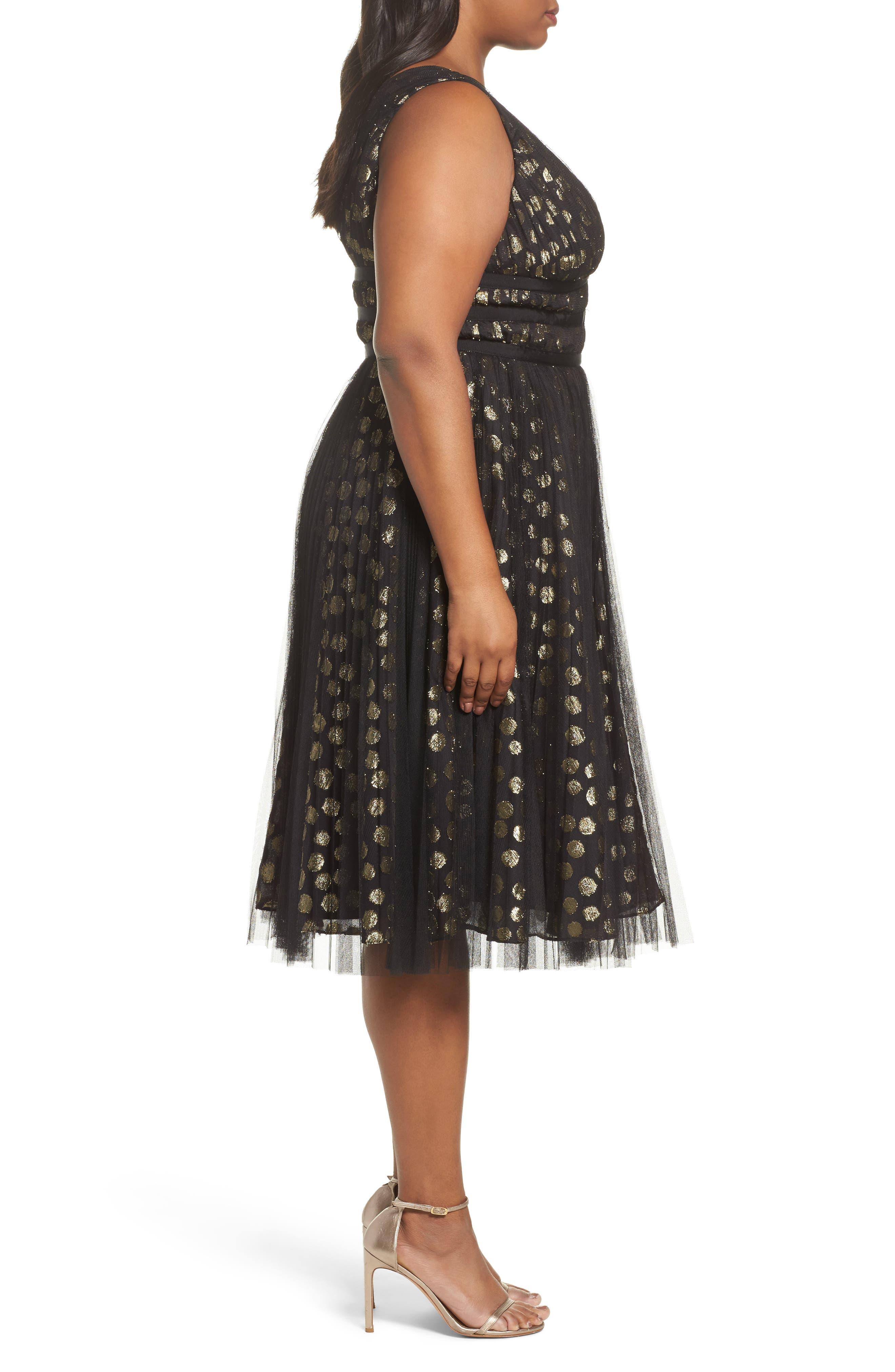 Shirred Metallic Dress,                             Alternate thumbnail 3, color,                             001