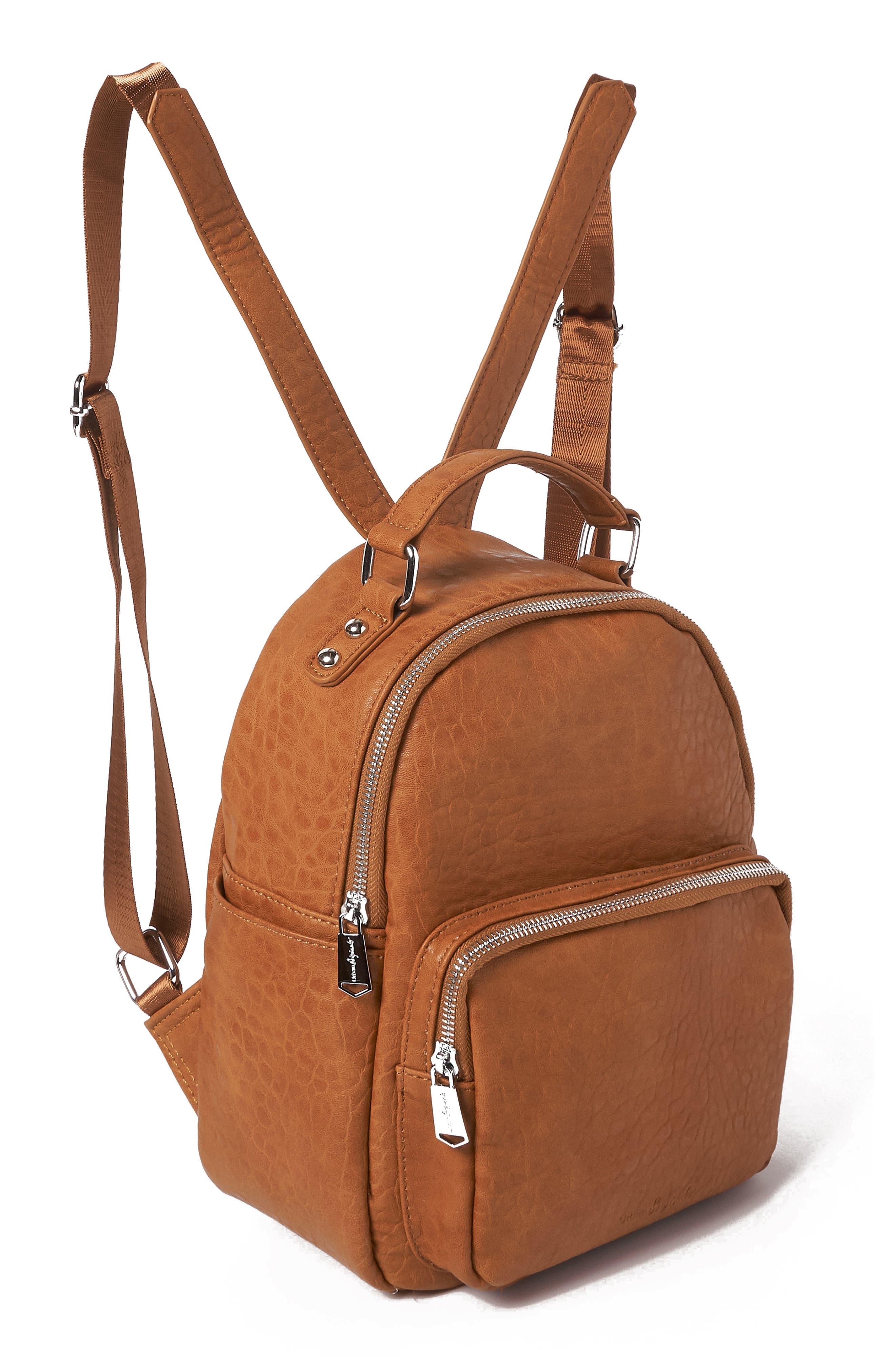 Vegan Leather Mini Backpack,                             Alternate thumbnail 4, color,                             TAN