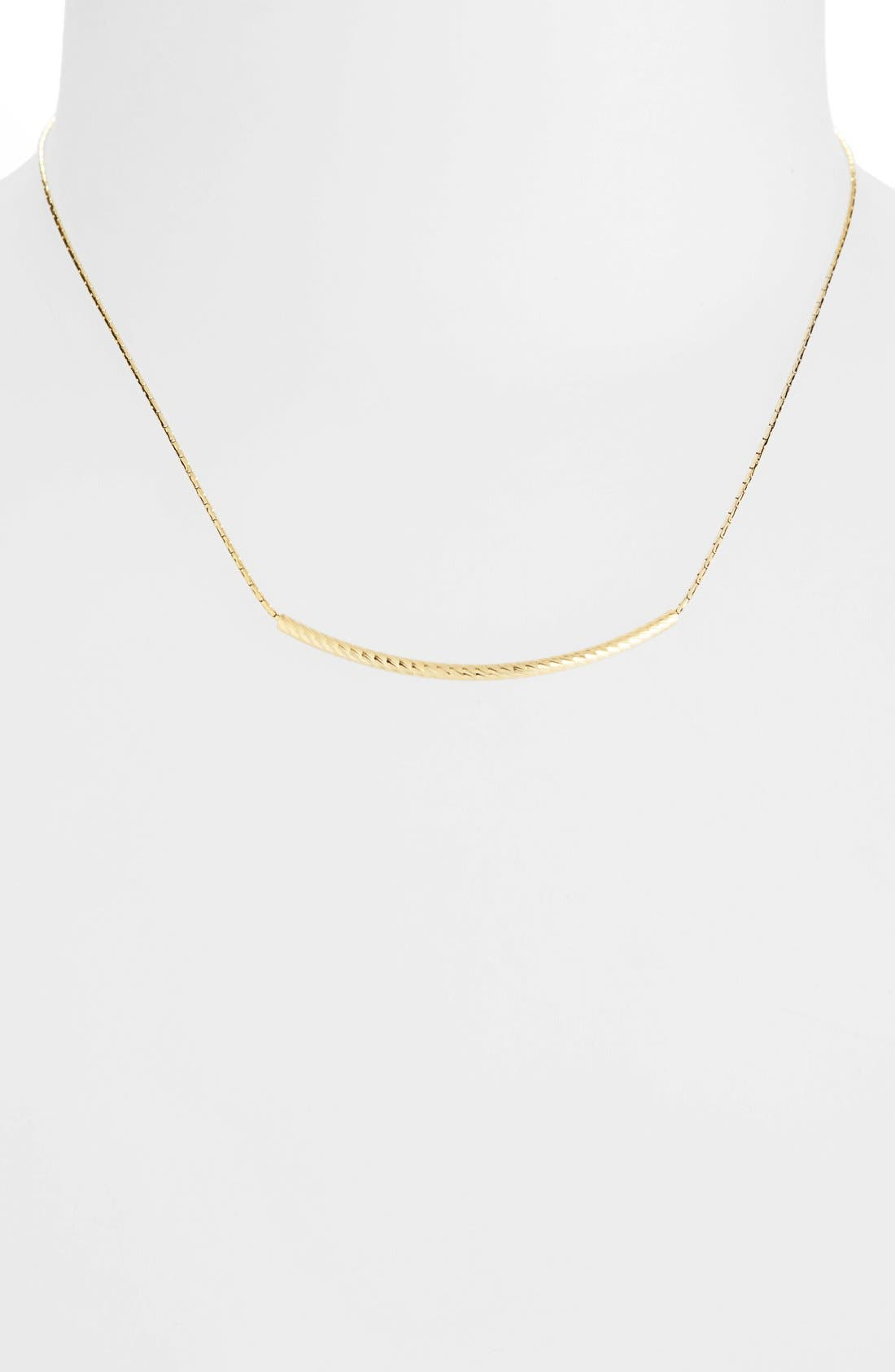 14kGold Curved Bar Necklace,                             Alternate thumbnail 2, color,                             710