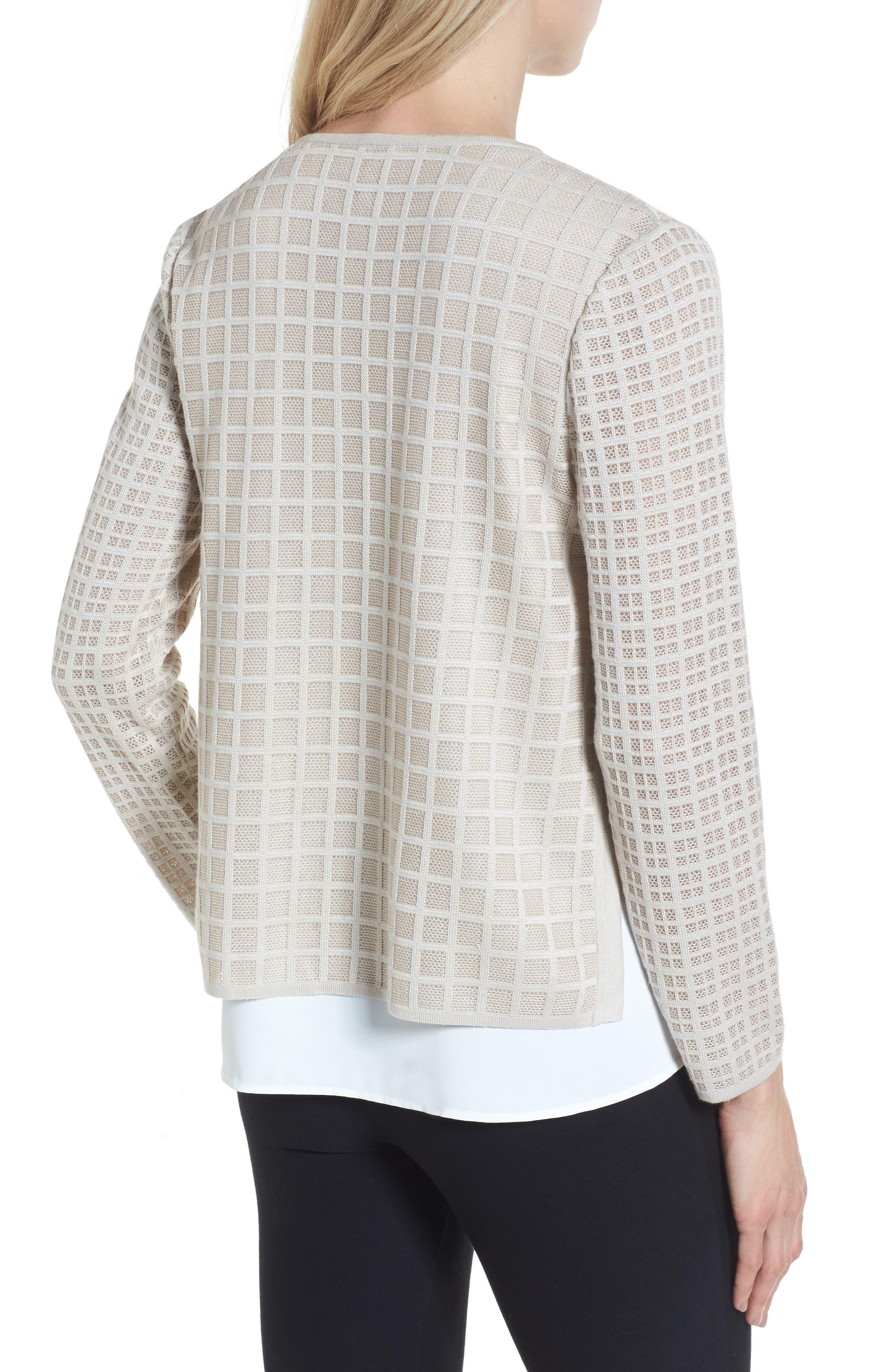 V-Neck Windowpane Sweater,                             Alternate thumbnail 2, color,                             252