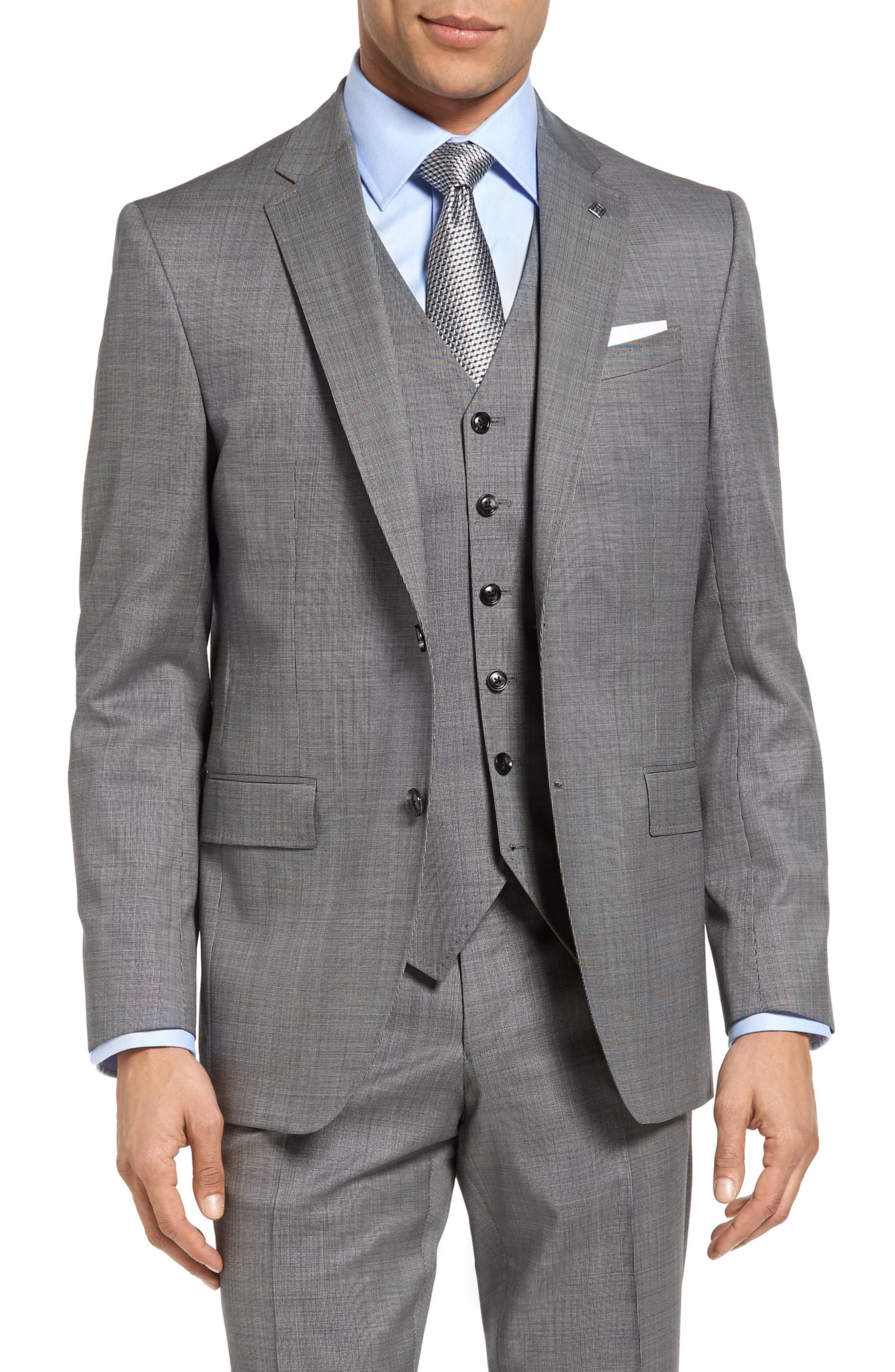 Jay Trim Fit Solid Wool Suit,                             Alternate thumbnail 10, color,                             LIGHT GREY