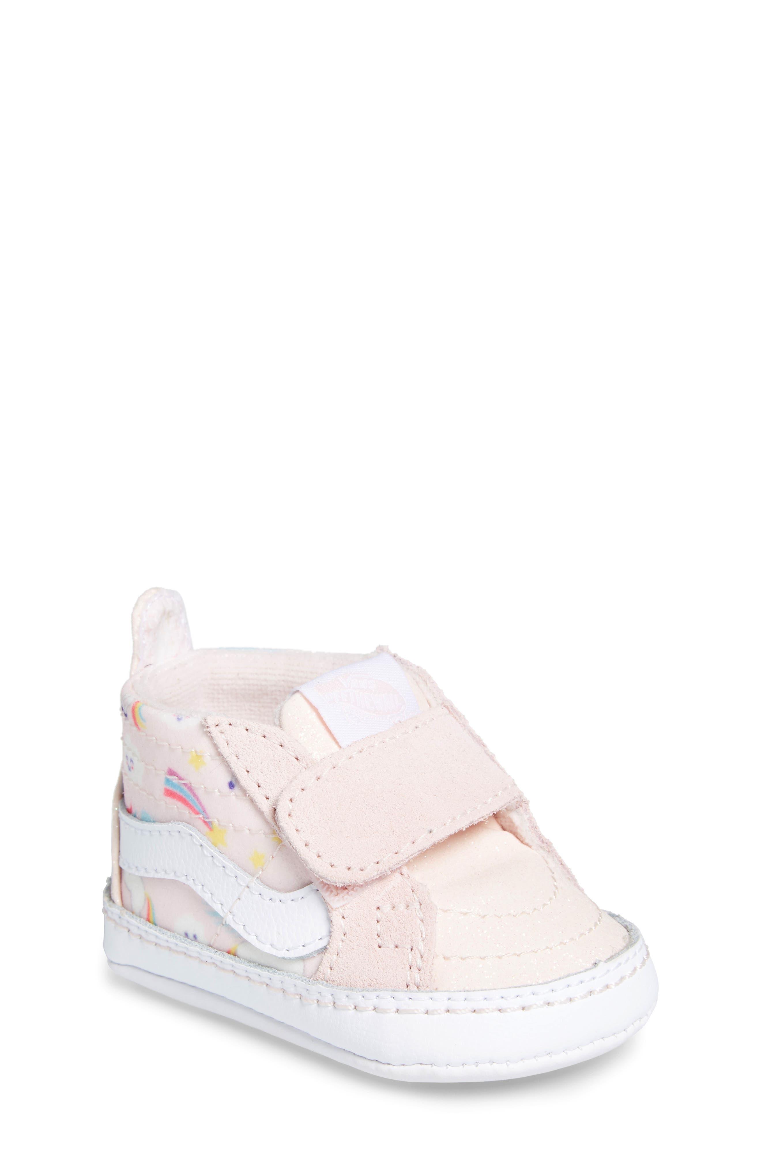 'SK8-Hi' Crib Sneaker,                             Main thumbnail 1, color,                             GLITTER PEGASUS PINK/ WHITE