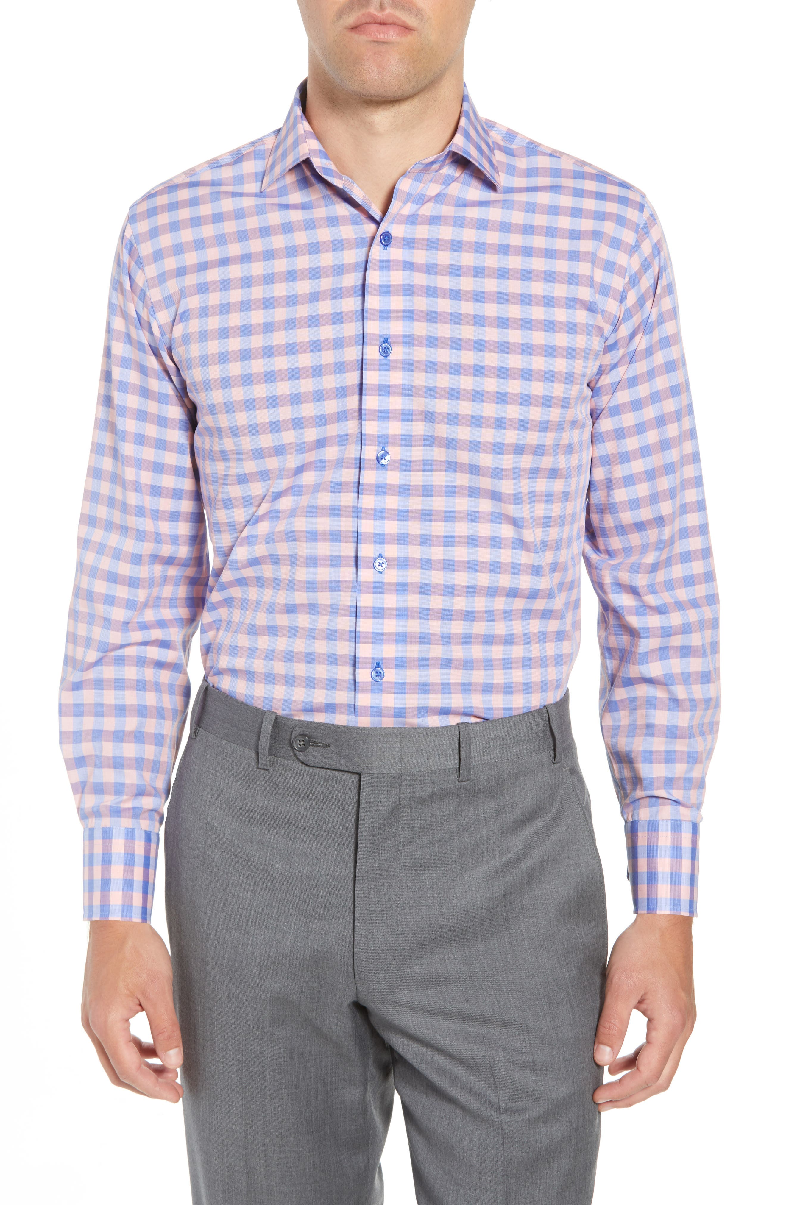 Trim Fit Check Dress Shirt,                             Main thumbnail 1, color,                             410