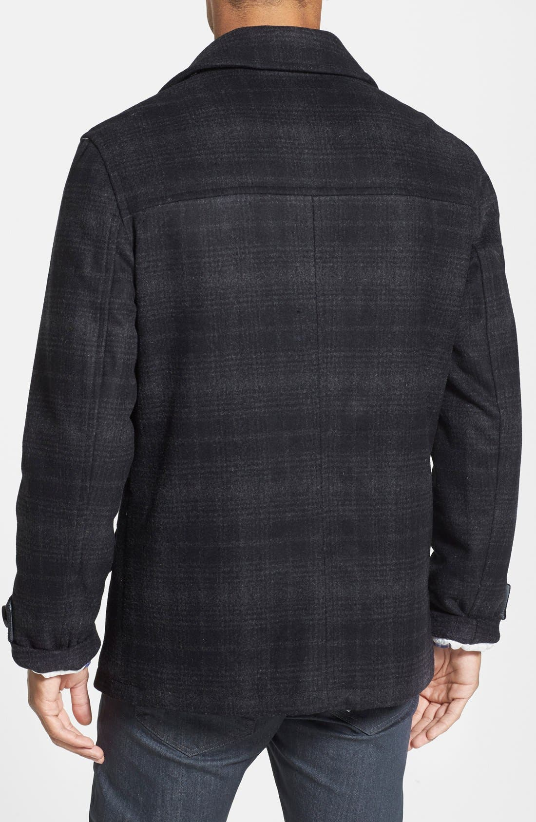 'Fettes' Regular Fit Double Breasted Check Wool Blend Peacoat,                             Alternate thumbnail 2, color,                             001