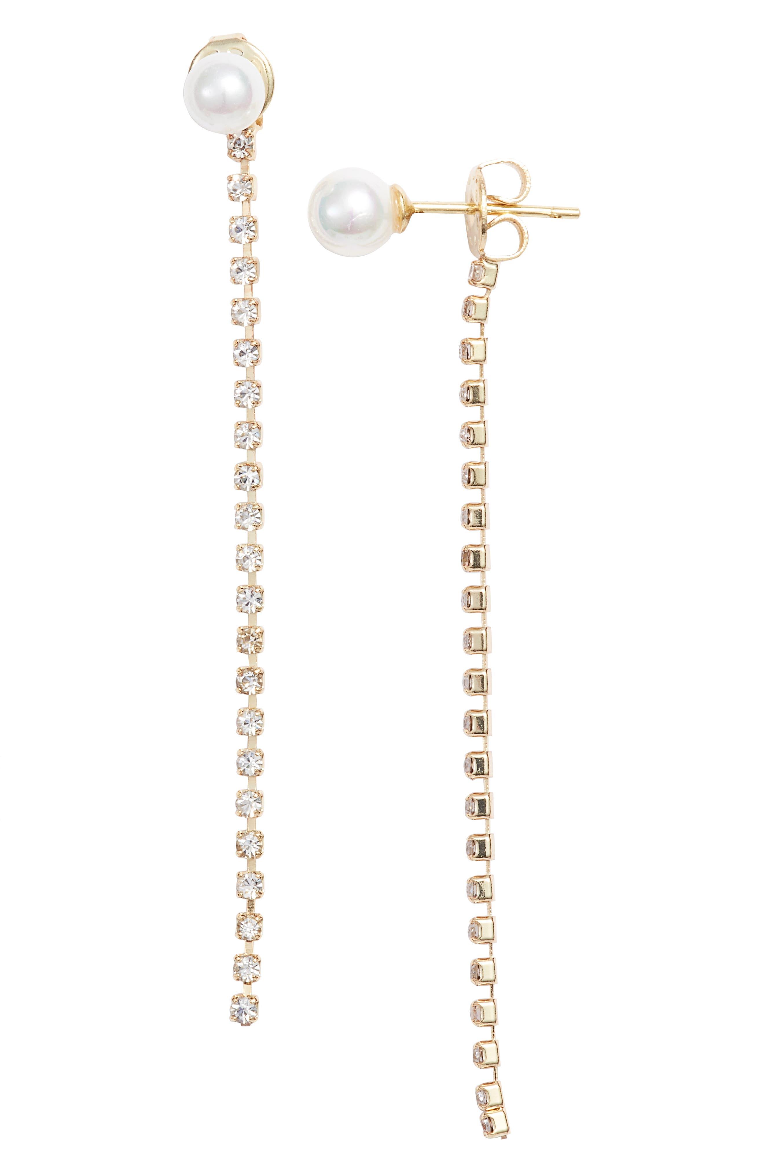 MELINDA MARIA Amy Imitation Pearl Earrings in Pearl/ Gold