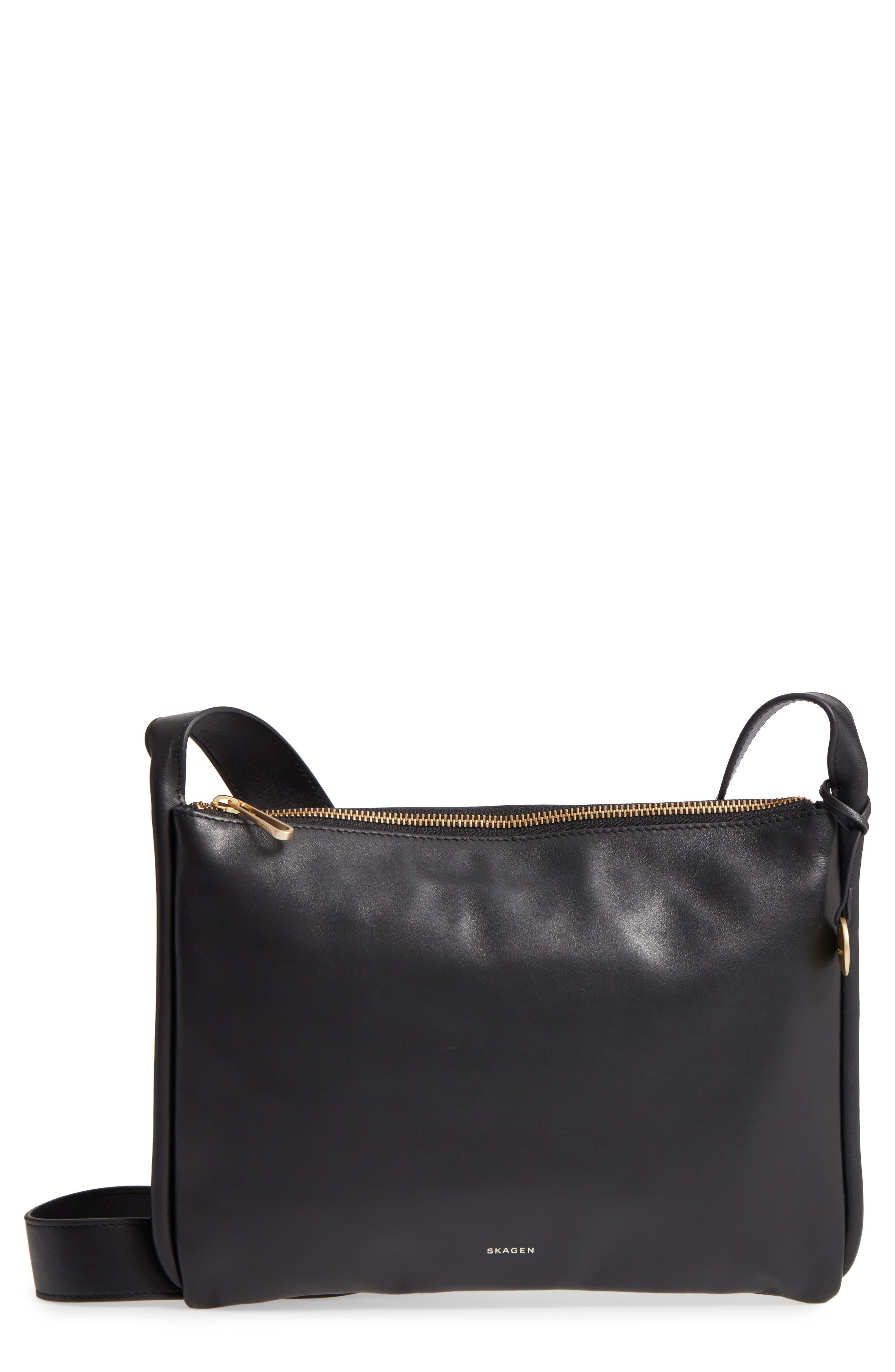 Slim Anesa Leather Crossbody Bag,                             Main thumbnail 1, color,                             001