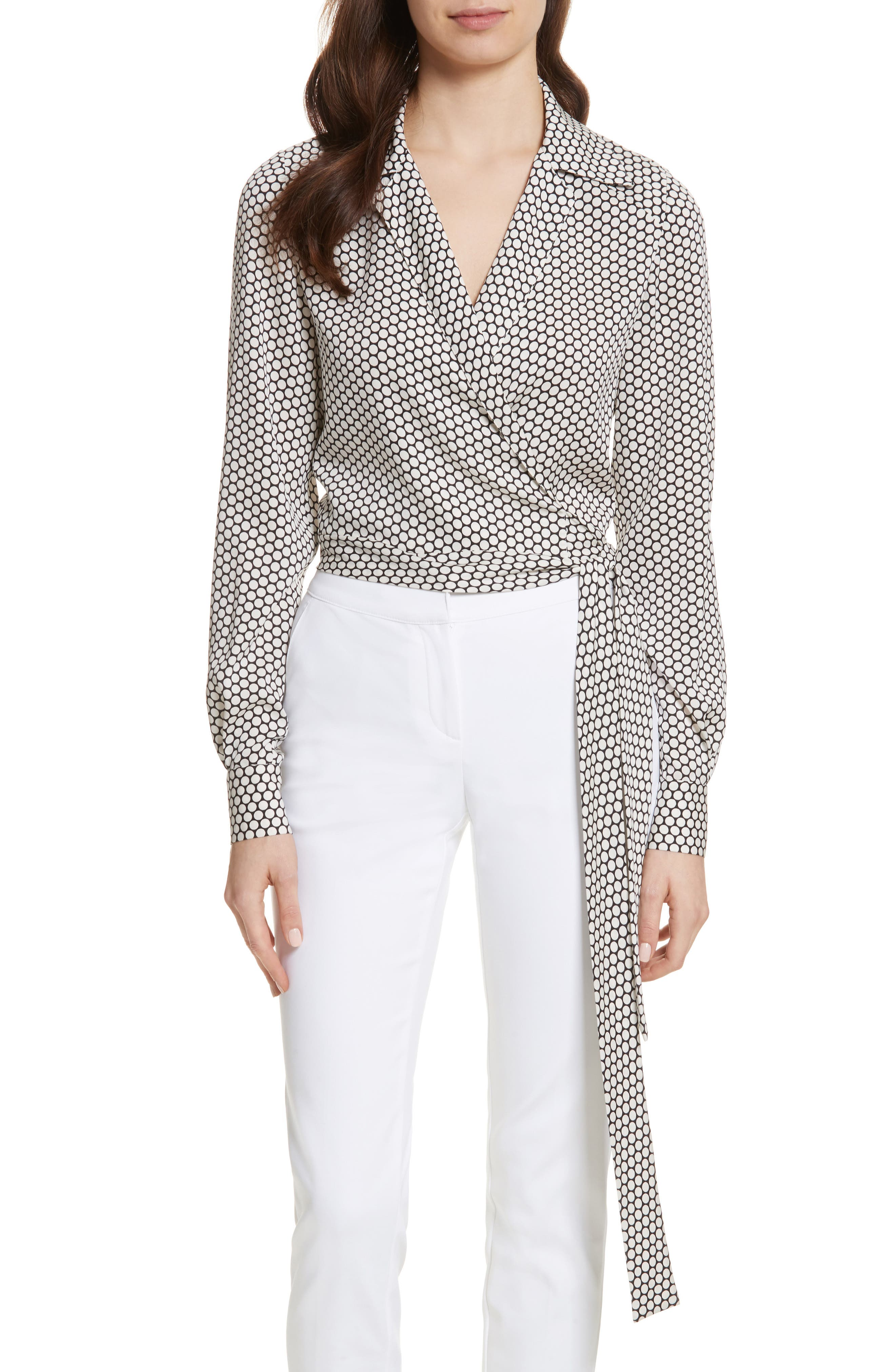 Diane von Furstenberg Stretch Silk Wrap Blouse,                         Main,                         color, 105