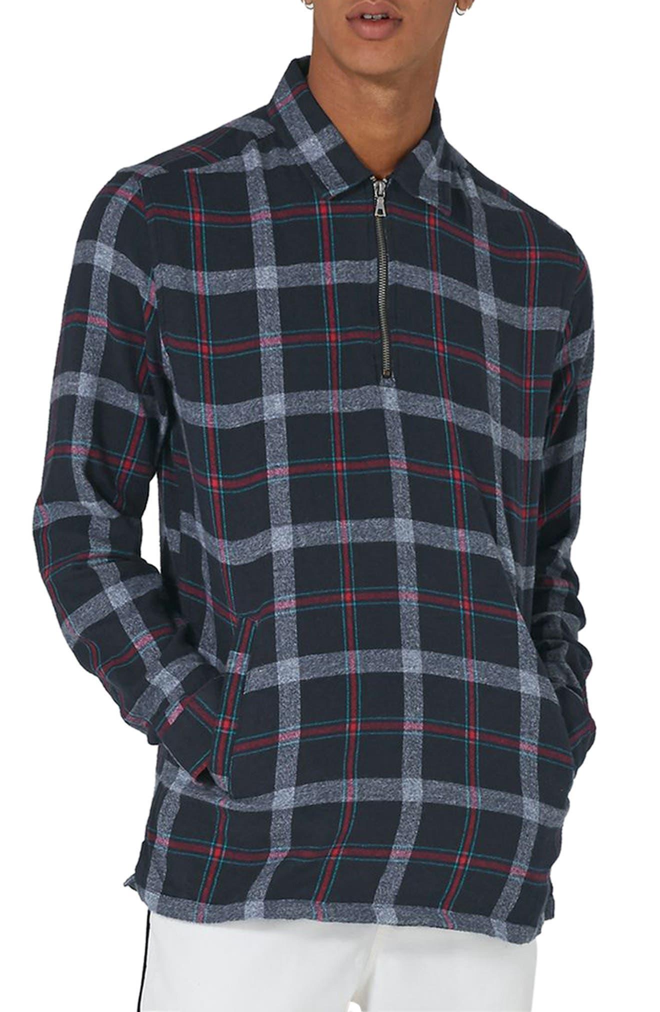 Half Zip Check Shirt,                         Main,                         color, 400