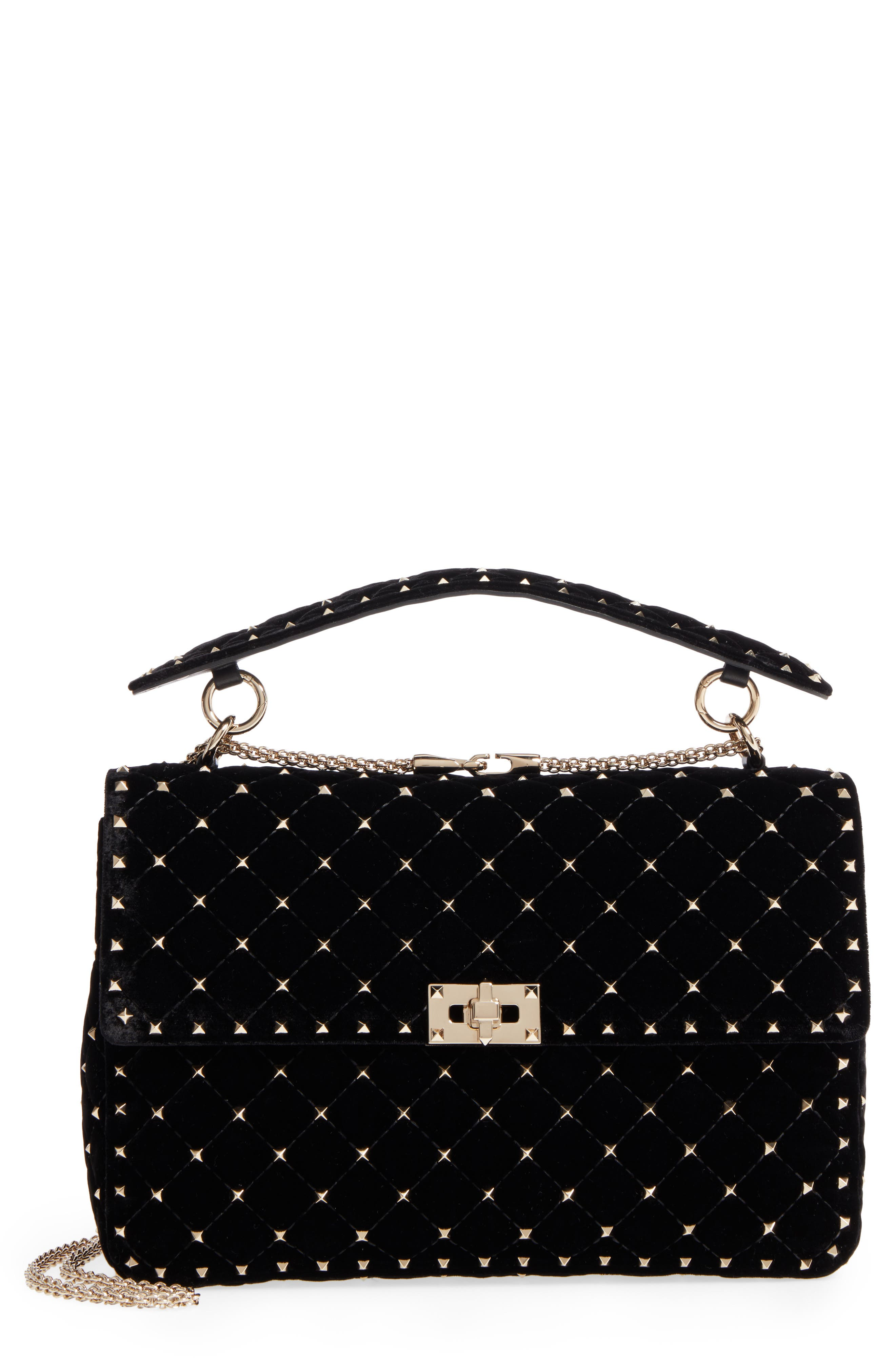 Rockstud Matelassé Velvet Shoulder Bag,                         Main,                         color, 001