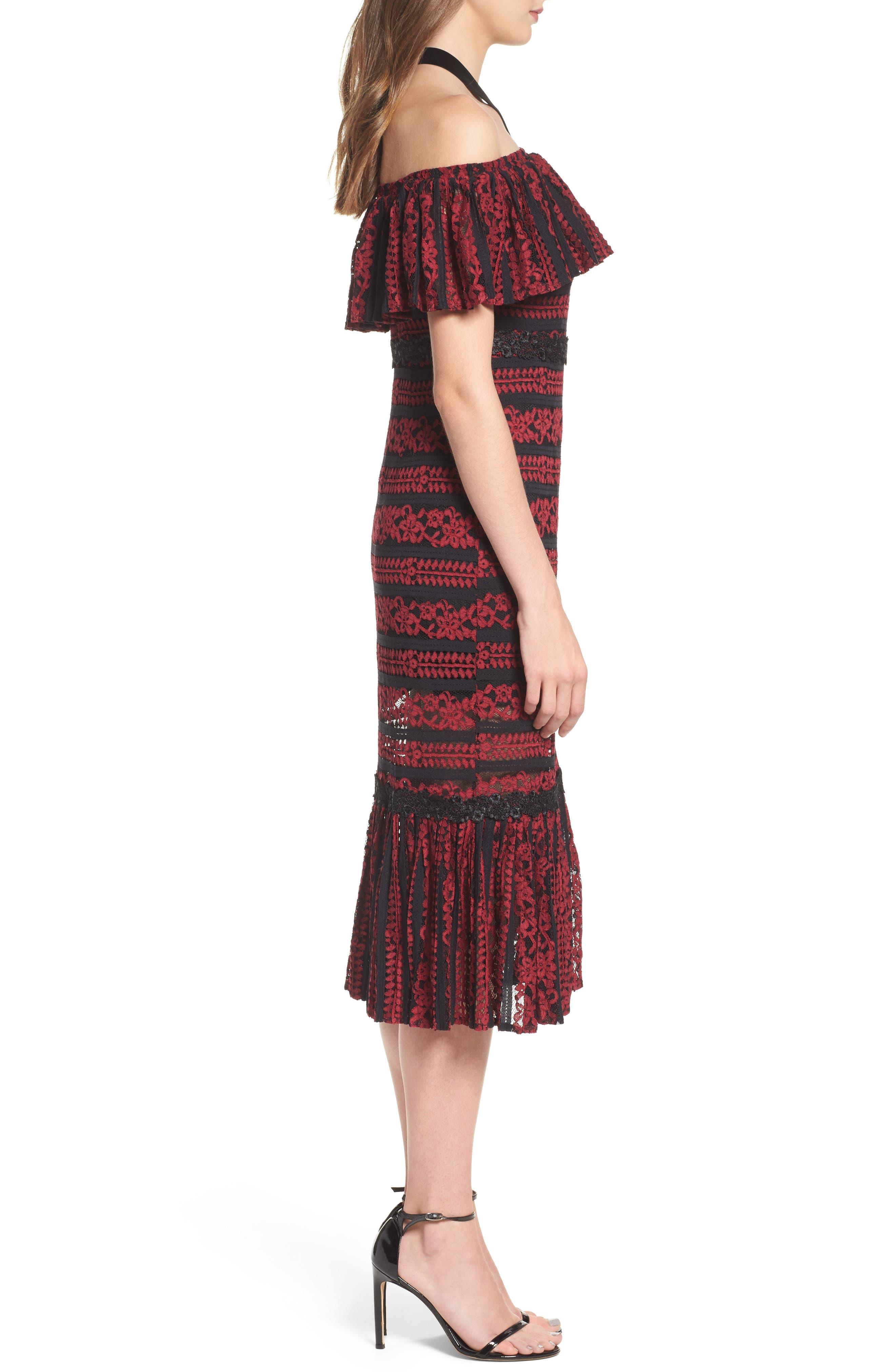 Stella Off the Shoulder Lace Midi Dress,                             Alternate thumbnail 3, color,                             649