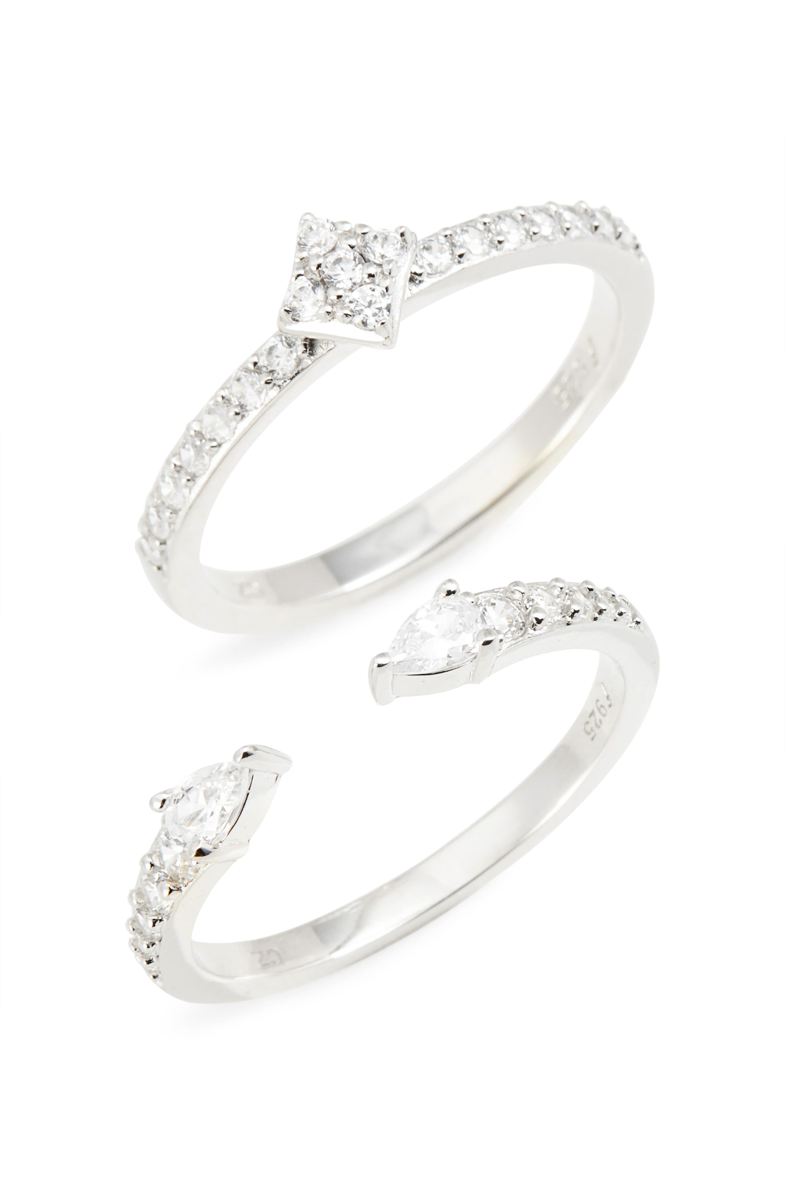 Set of 2 Pavé Cuff Rings,                         Main,                         color, 040