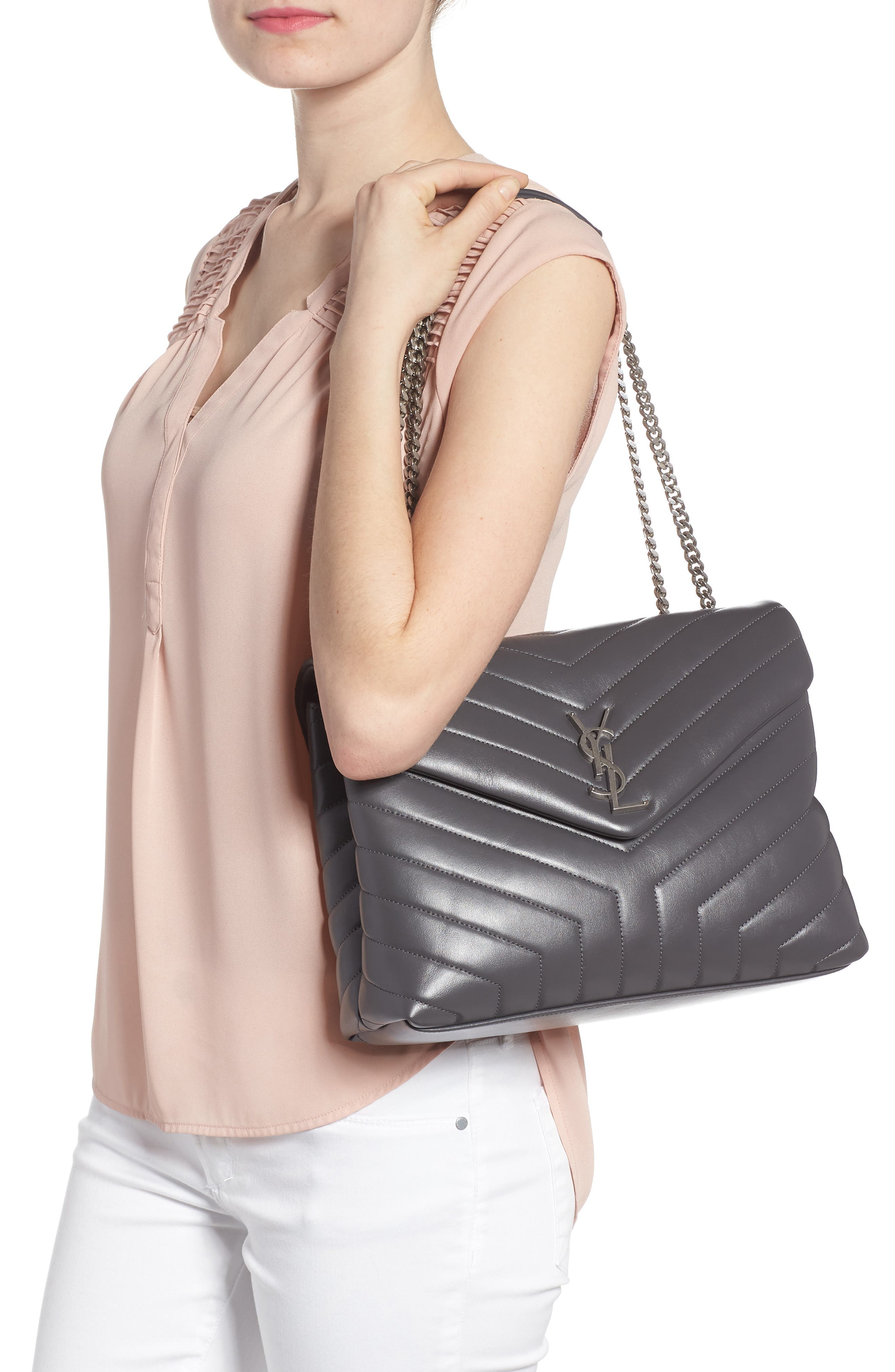 Medium Loulou Calfskin Leather Shoulder Bag,                             Alternate thumbnail 2, color,                             STORM/ STORM