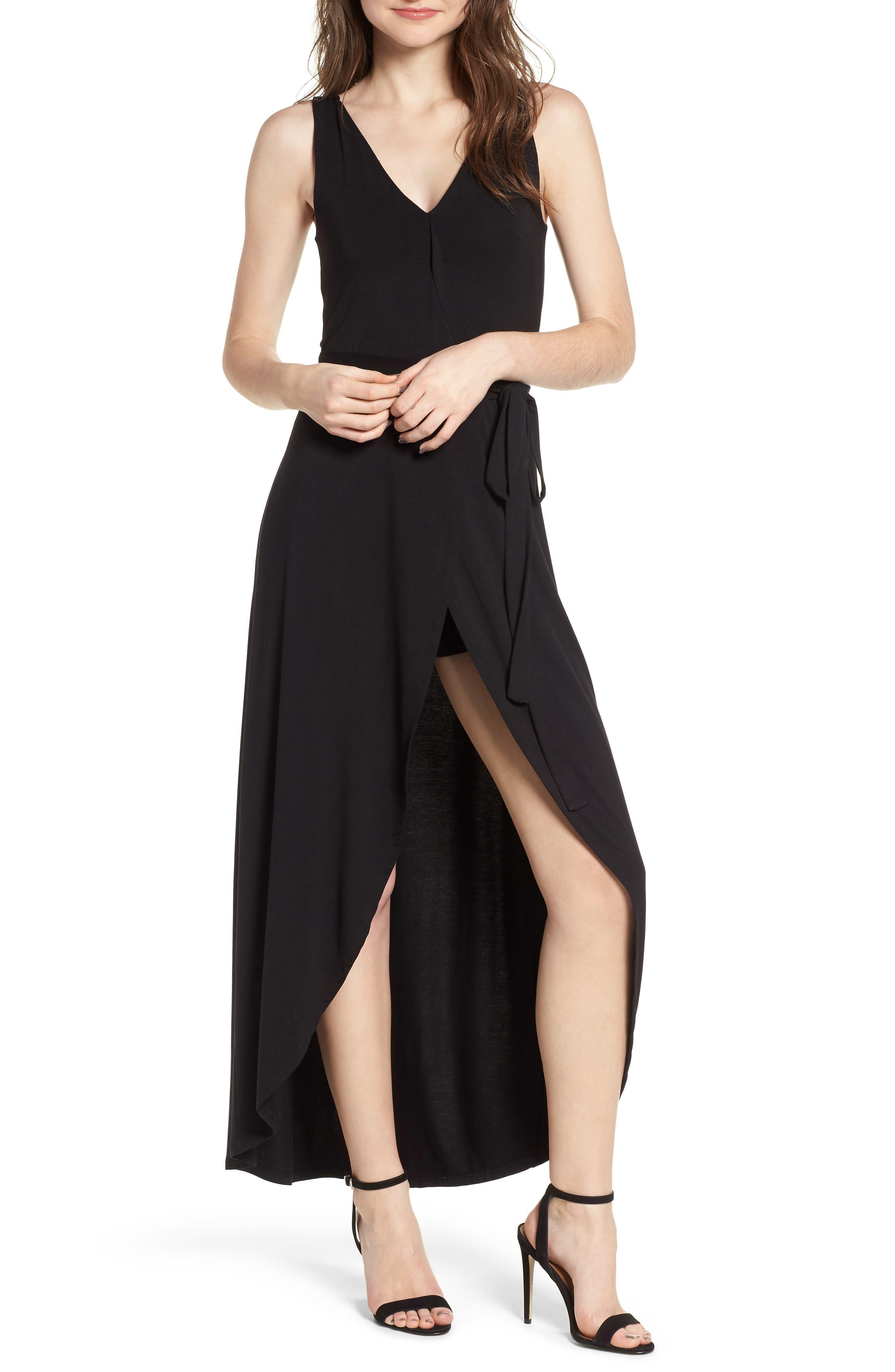 Knit Maxi Dress,                             Alternate thumbnail 4, color,                             001