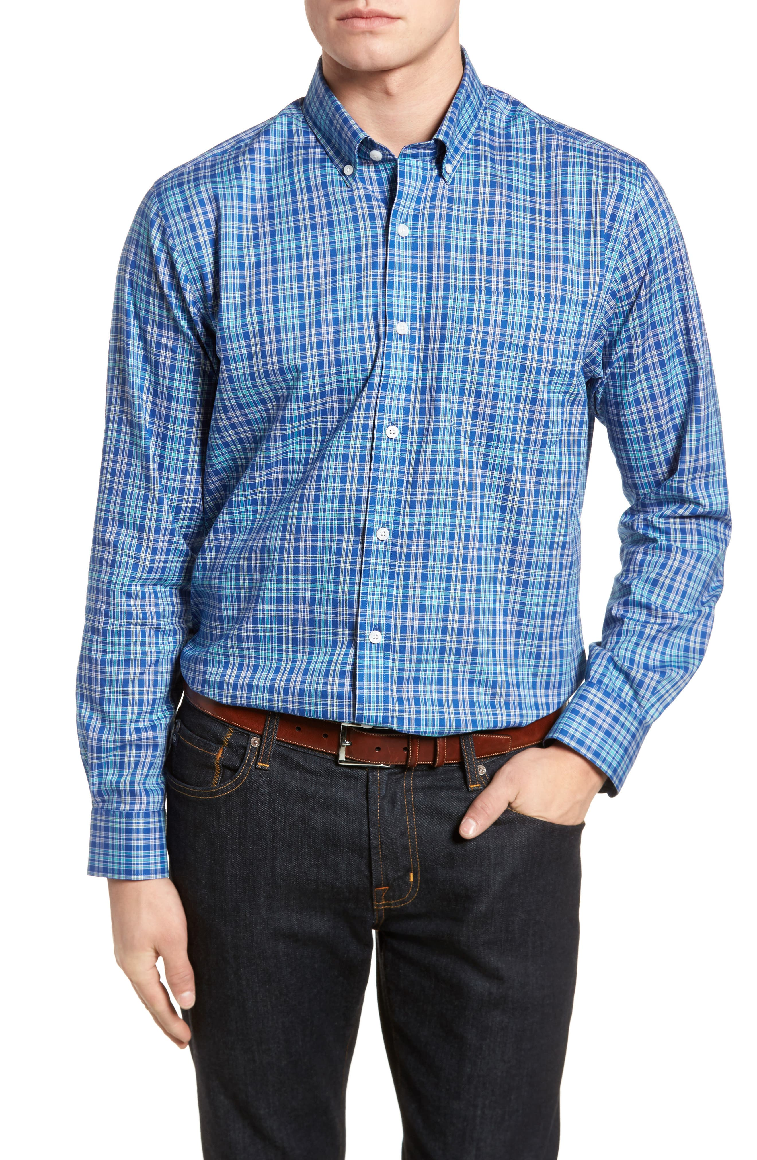 Charlie Easy Care Plaid Sport Shirt,                             Main thumbnail 1, color,                             419