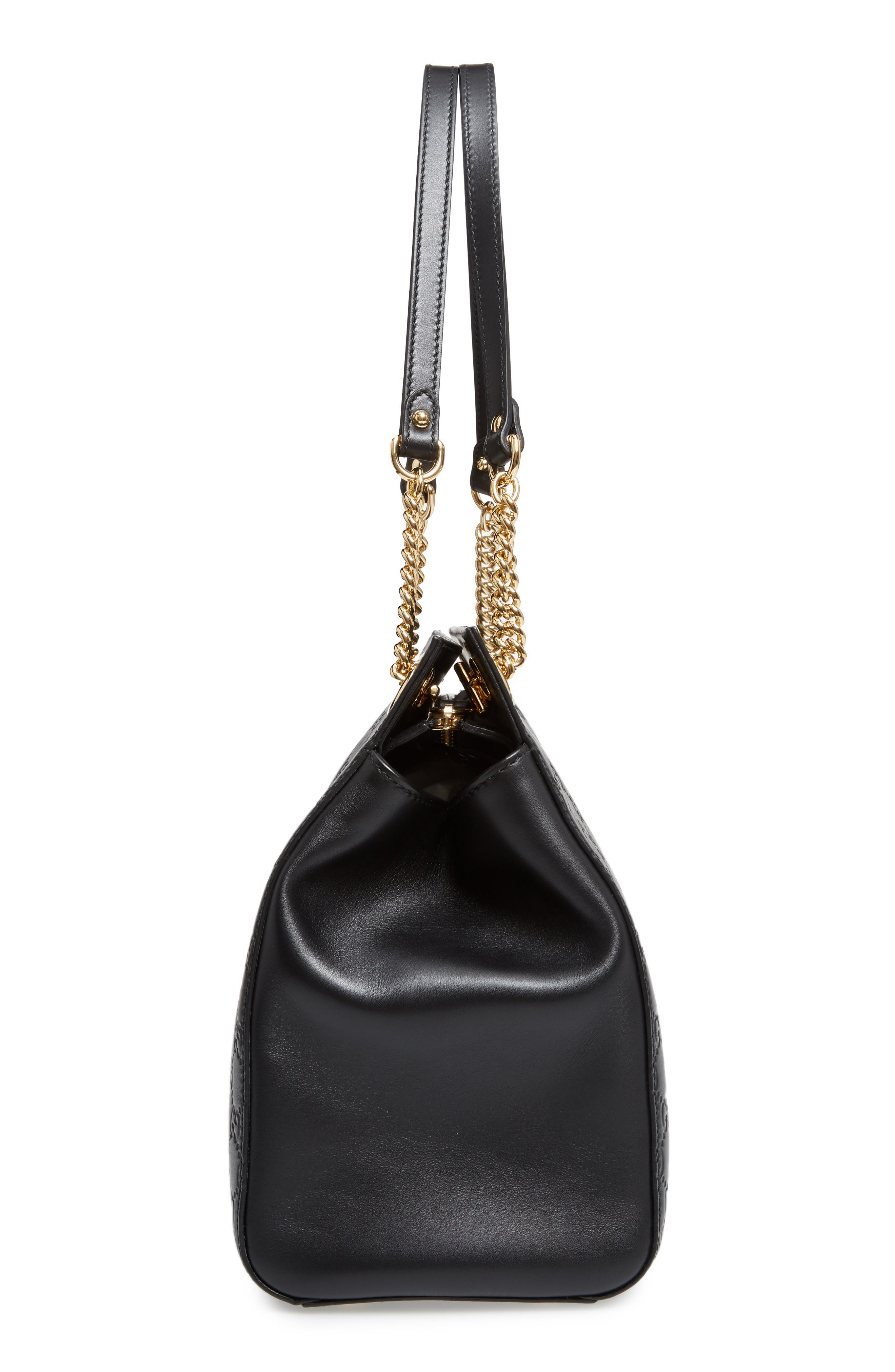 Large Signature Leather Shoulder Bag,                             Alternate thumbnail 5, color,                             001