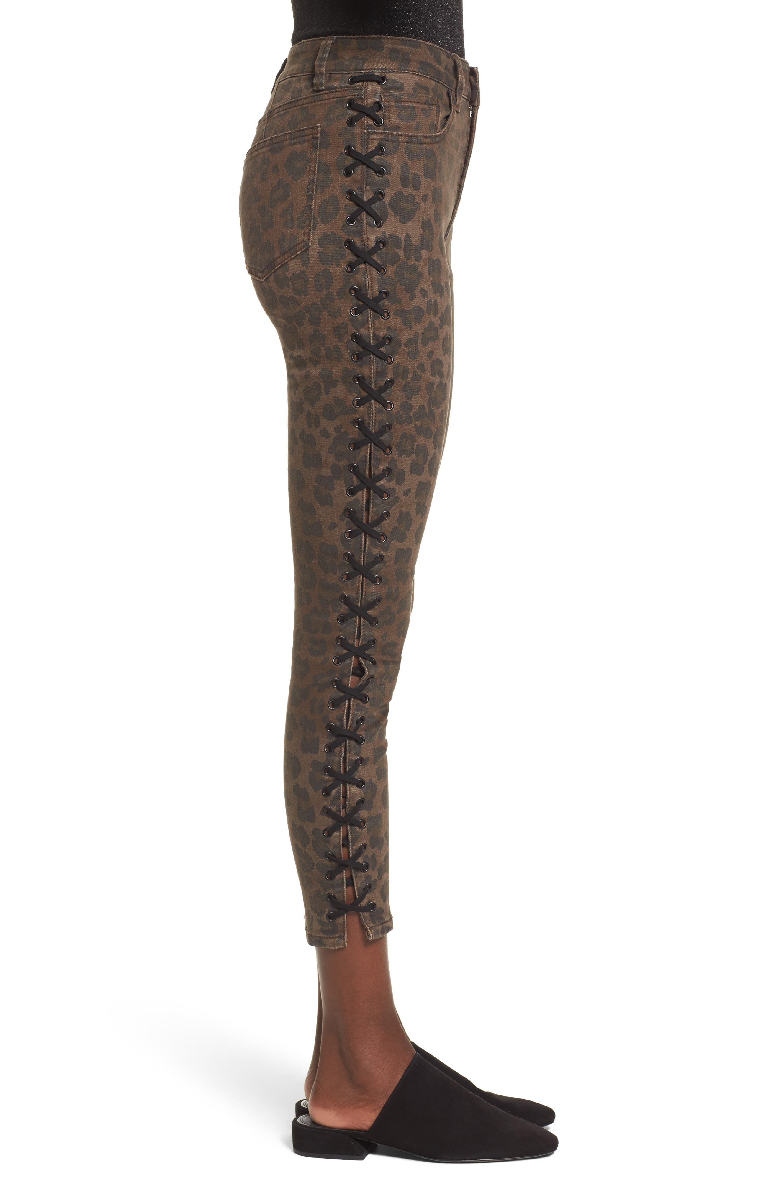 Lace Up Leopard Crop Skinny Jeans,                             Alternate thumbnail 3, color,