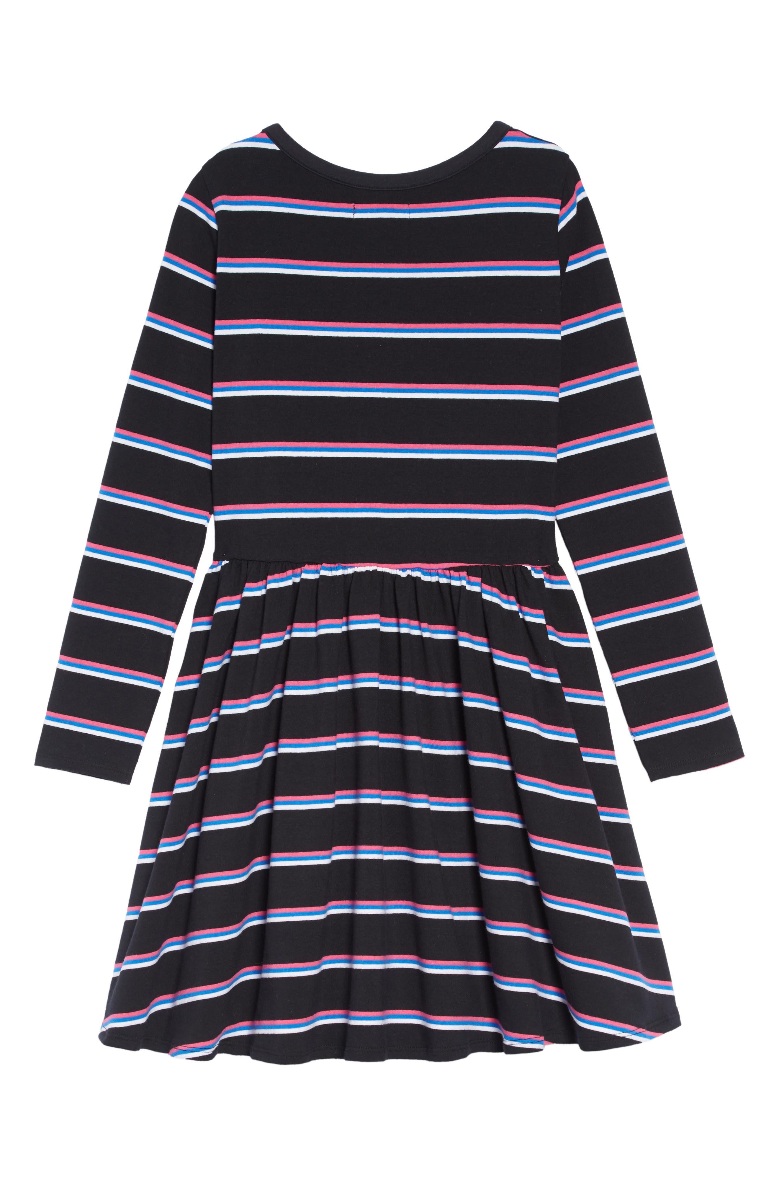 Easy Stripe Dress,                             Alternate thumbnail 2, color,                             BLACK MULTI STRIPE