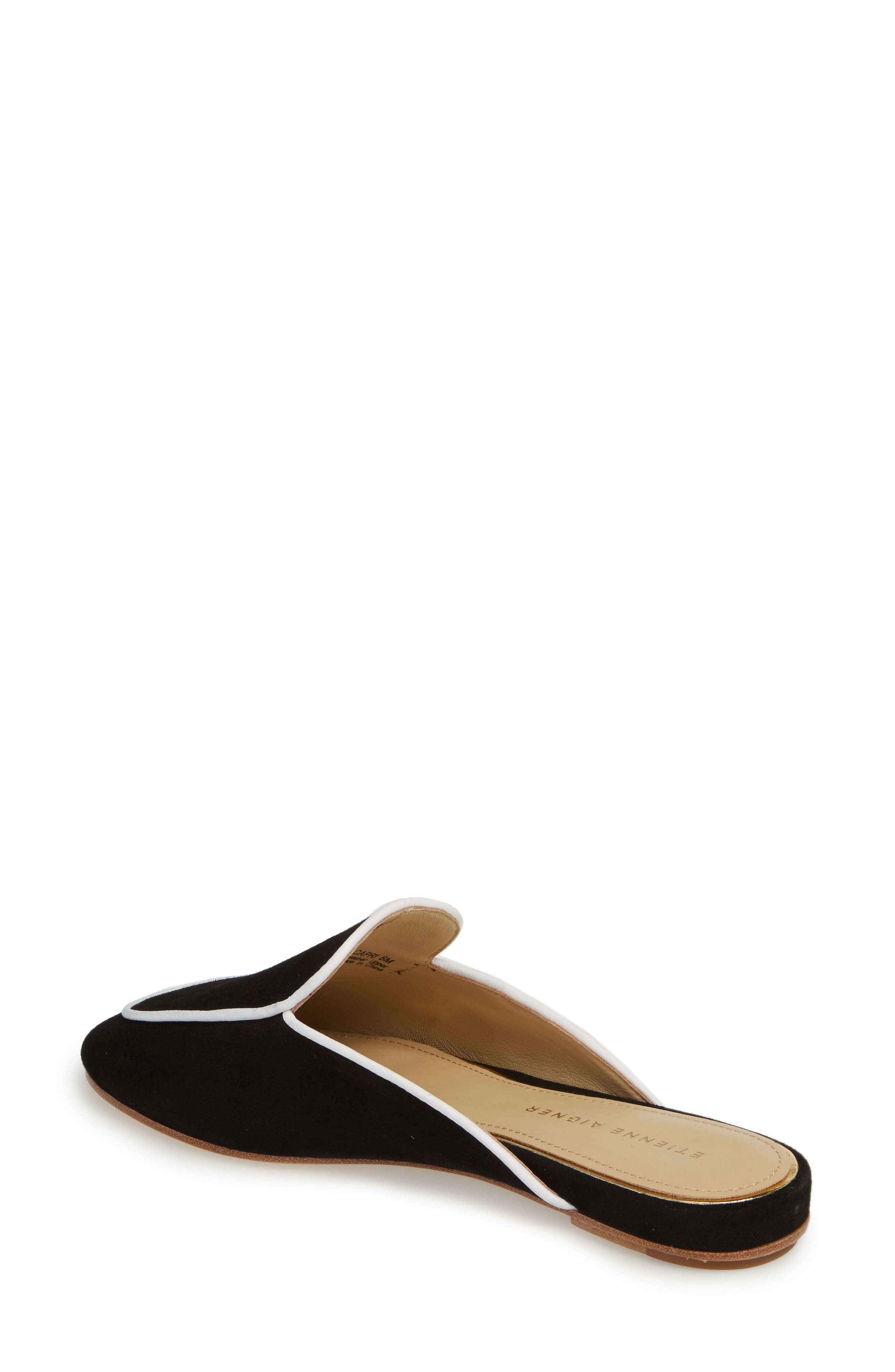 Capri Apron Toe Loafer Mule,                             Alternate thumbnail 2, color,                             BLACK/ WHITE SUEDE