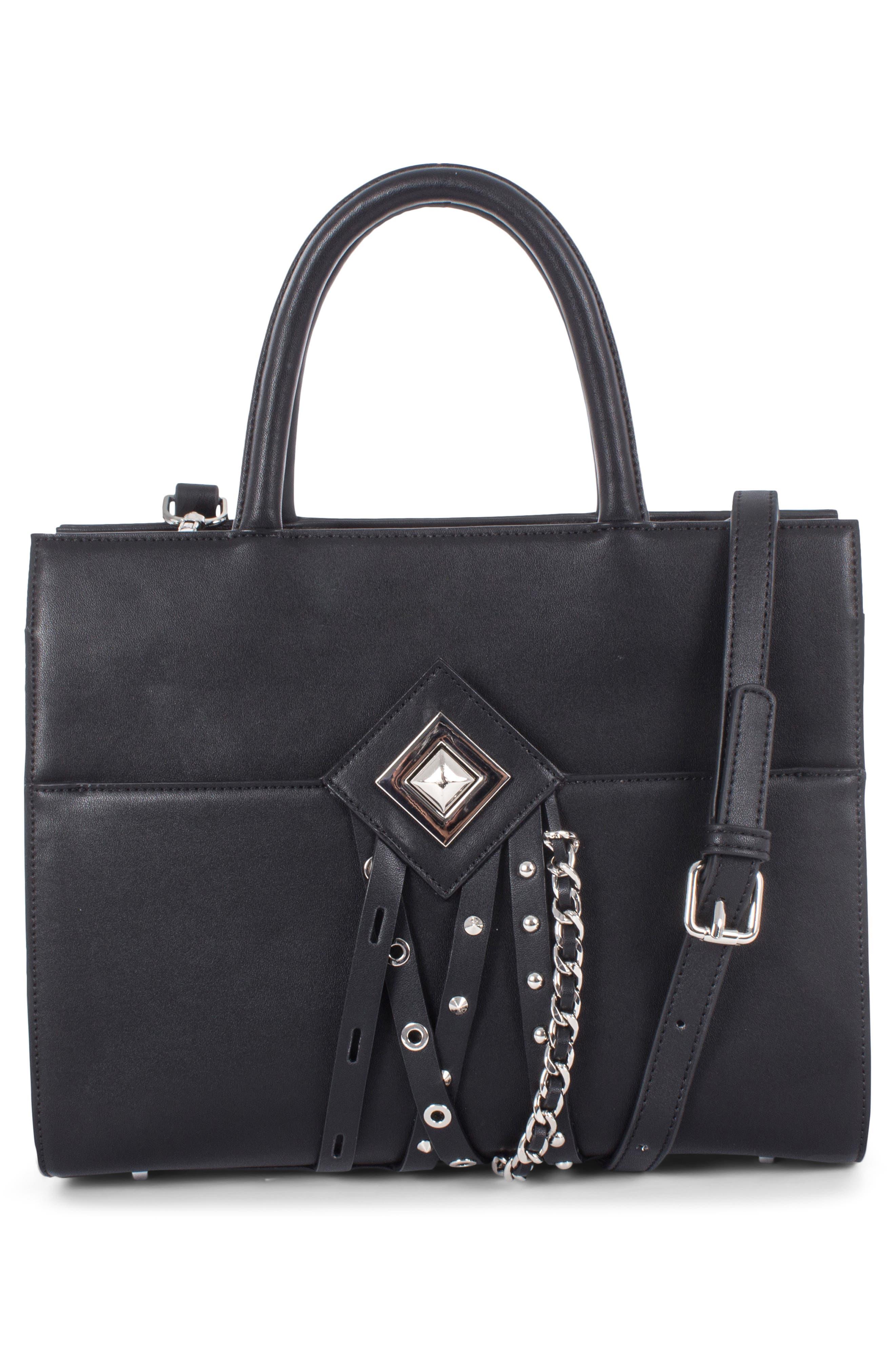 Céline Dion Legato Faux Leather Satchel,                             Alternate thumbnail 2, color,                             BLACK