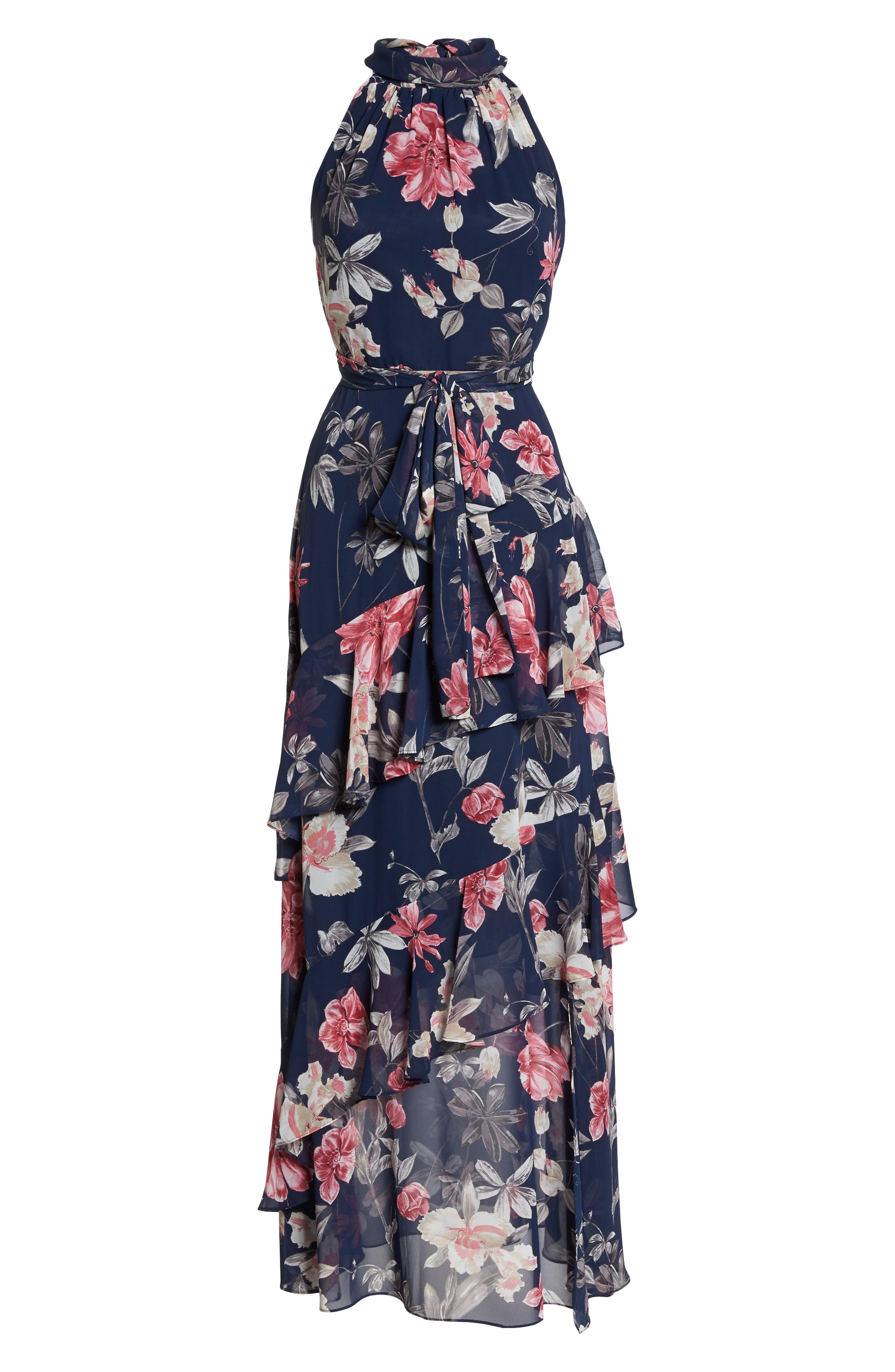 Halter Neck Ruffle Chiffon Maxi Dress,                             Alternate thumbnail 7, color,                             410