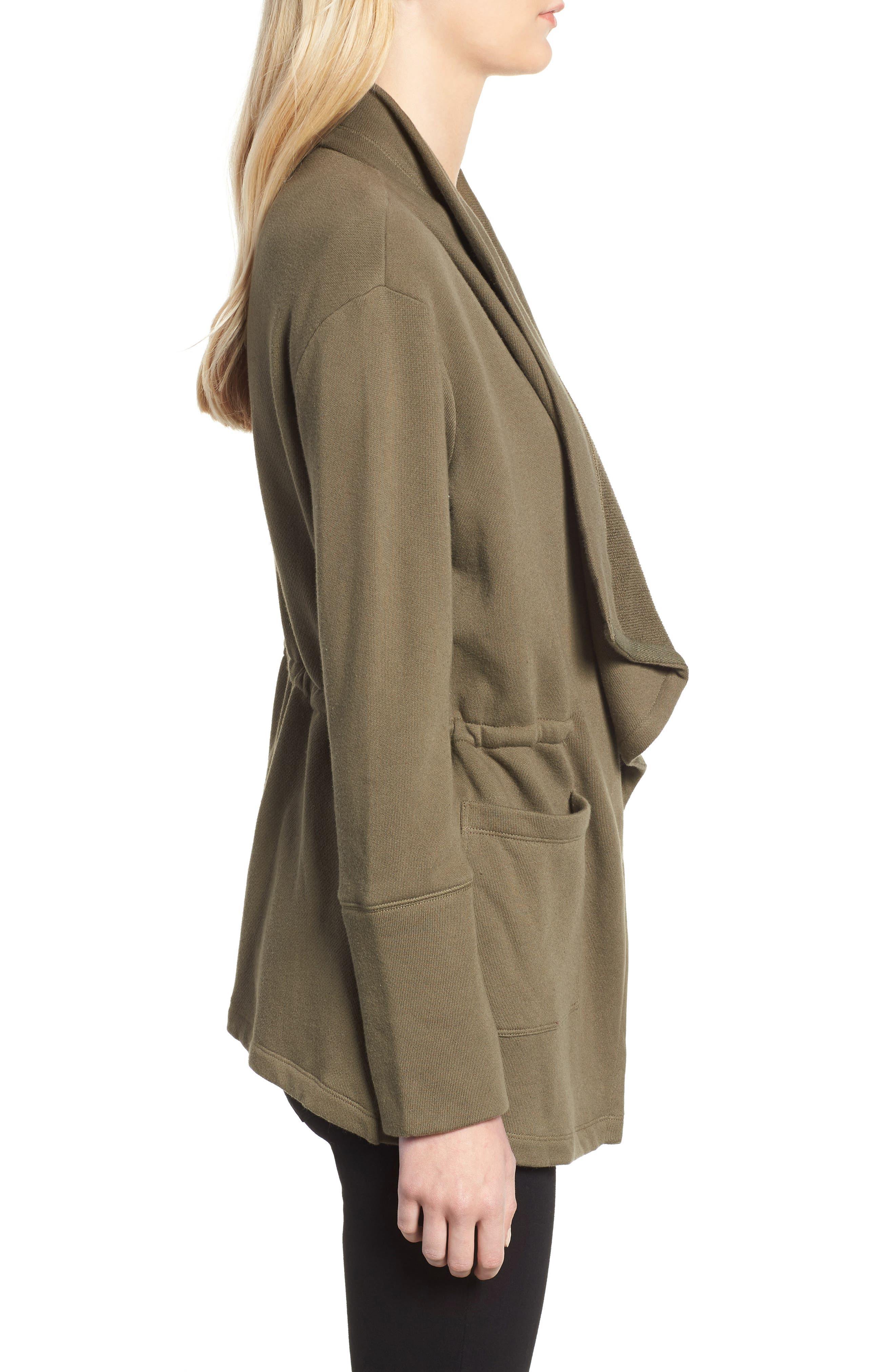 Asymmetrical Drape Collar Terry Jacket,                             Alternate thumbnail 3, color,                             300