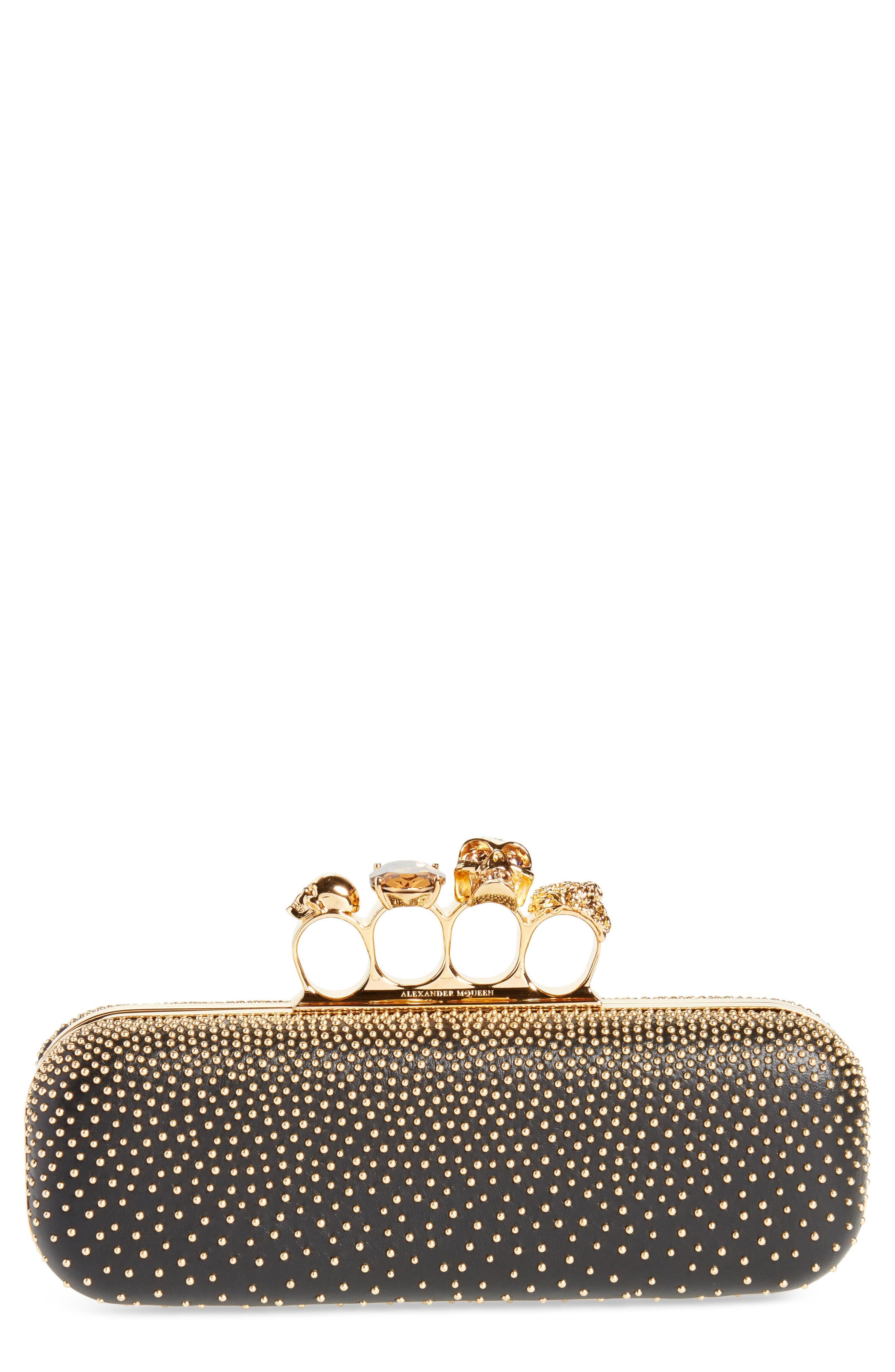 Studded Leather Knuckle Clutch,                         Main,                         color, 001