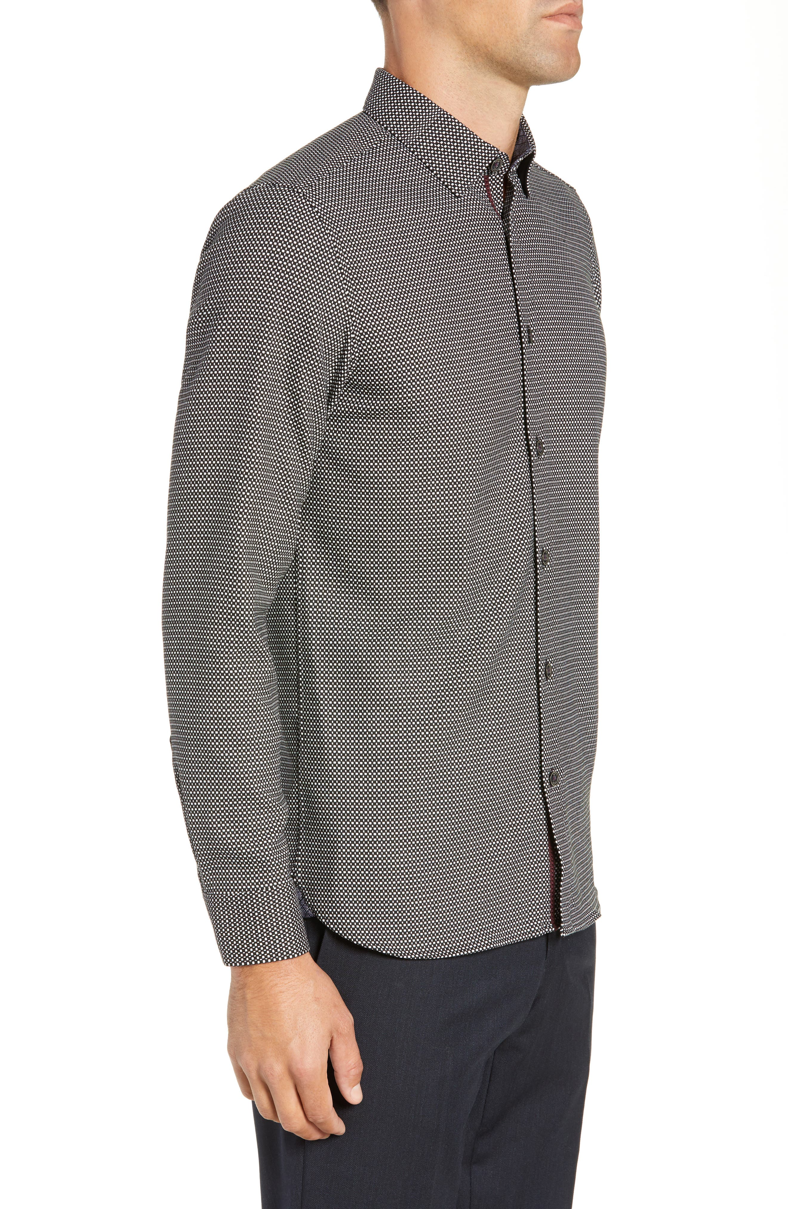 Wapping Slim Fit Textured Shirt,                             Alternate thumbnail 4, color,                             BLACK