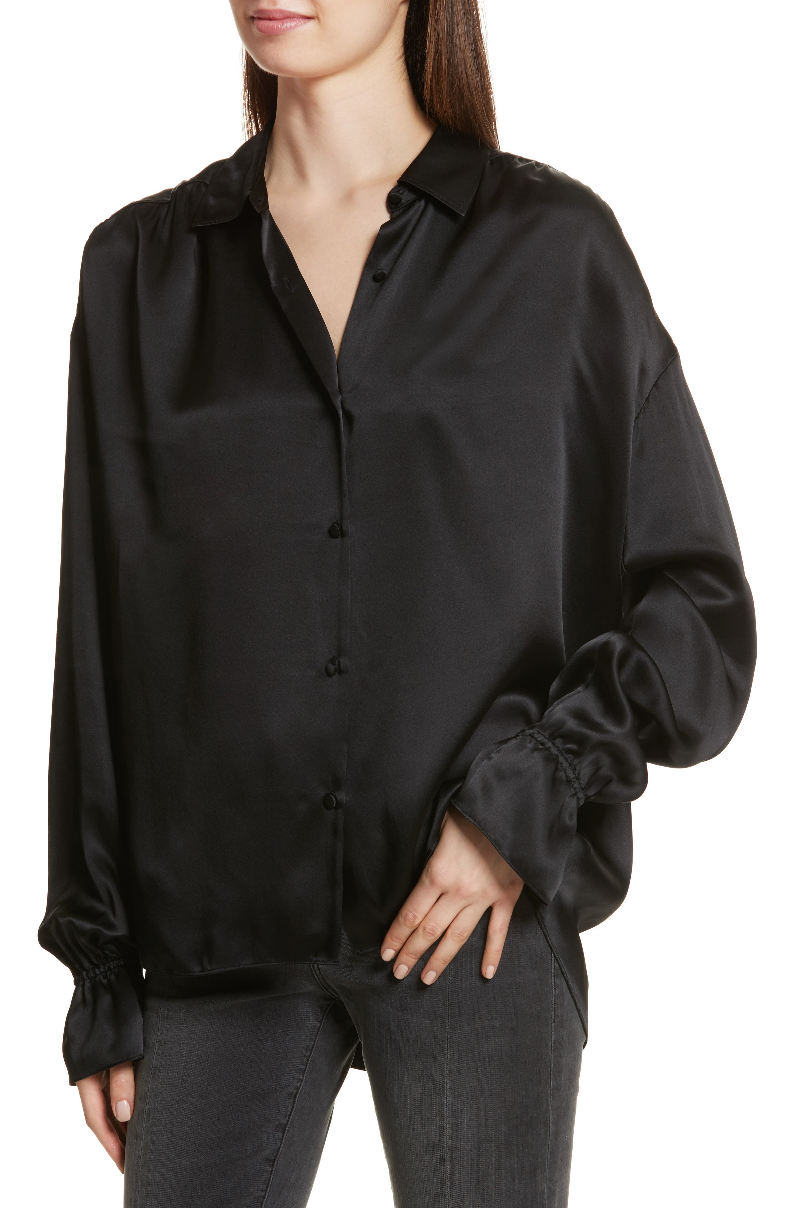 Flare Cuff Solid Silk Shirt,                             Alternate thumbnail 4, color,                             001