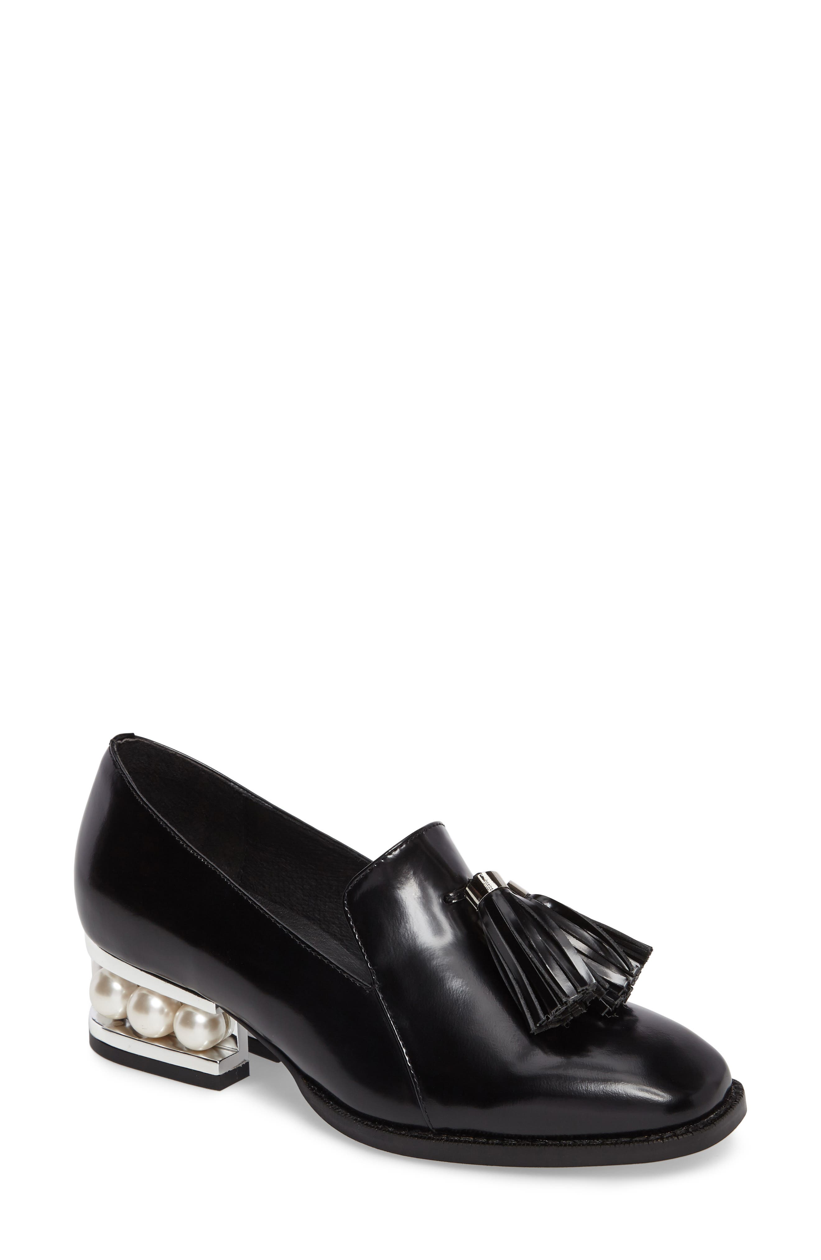 Lawford Pearly Heeled Loafer,                             Main thumbnail 1, color,                             001