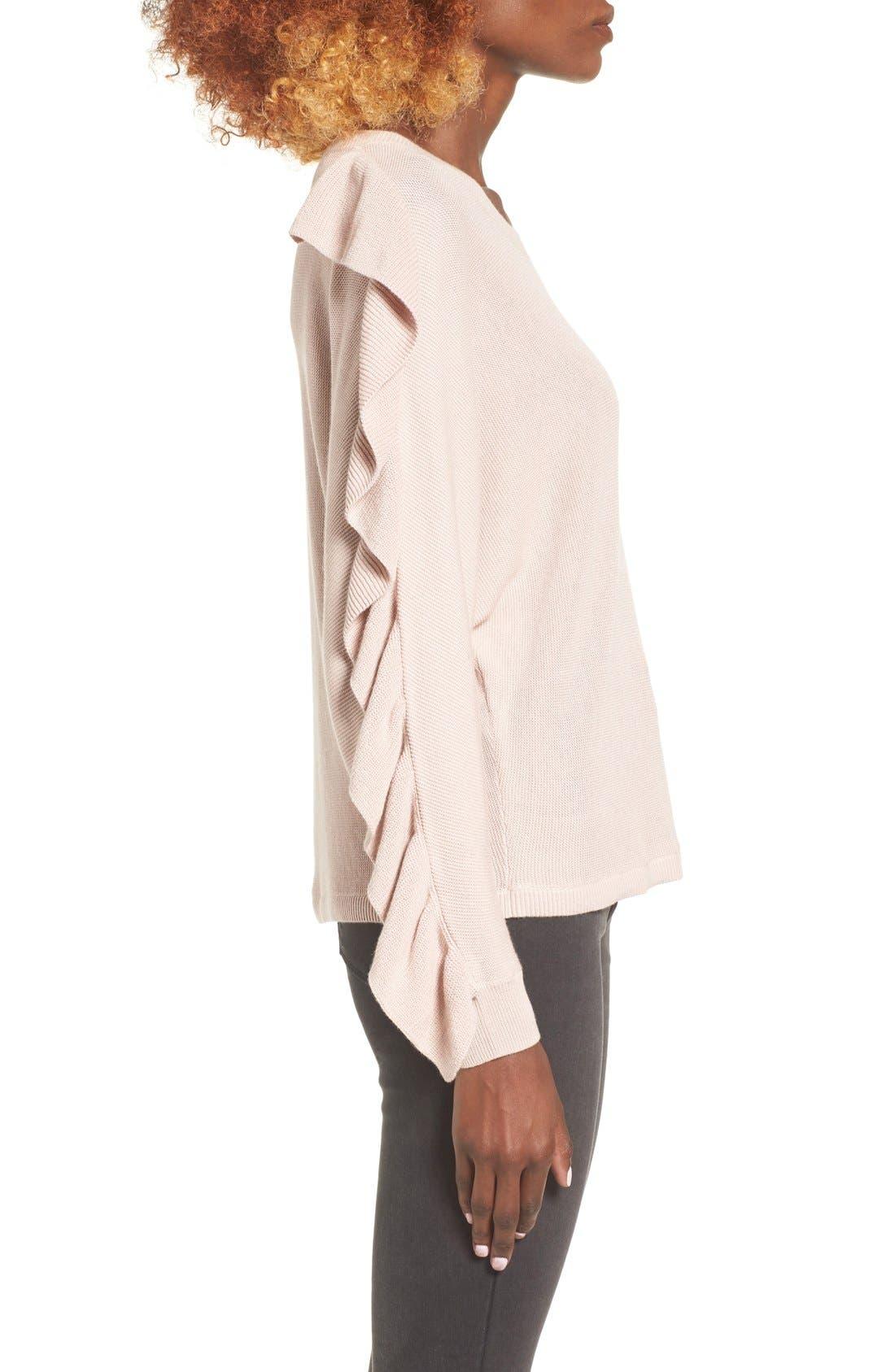 Ruffle Sleeve Sweater,                             Alternate thumbnail 25, color,