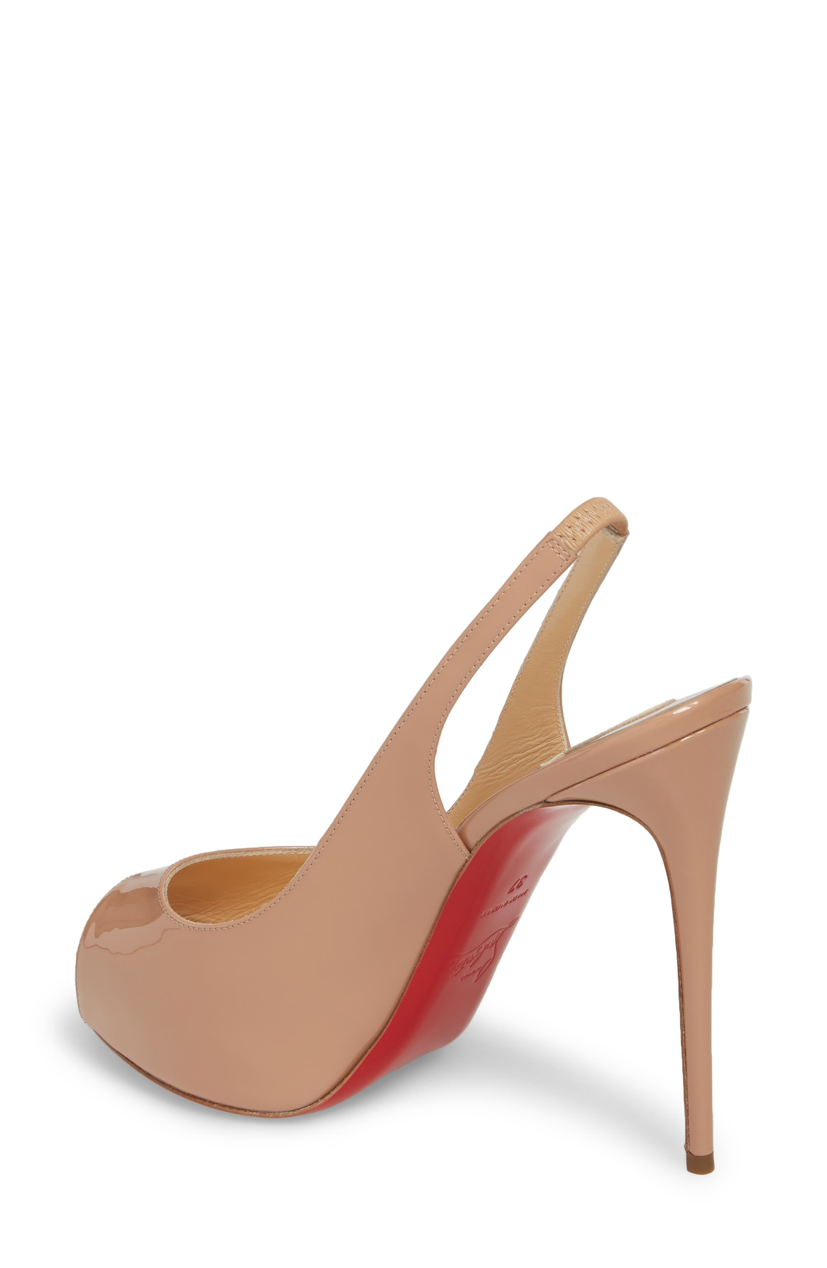 CHRISTIAN LOUBOUTIN,                             Private Number Peep Toe Pump,                             Alternate thumbnail 2, color,                             NUDE