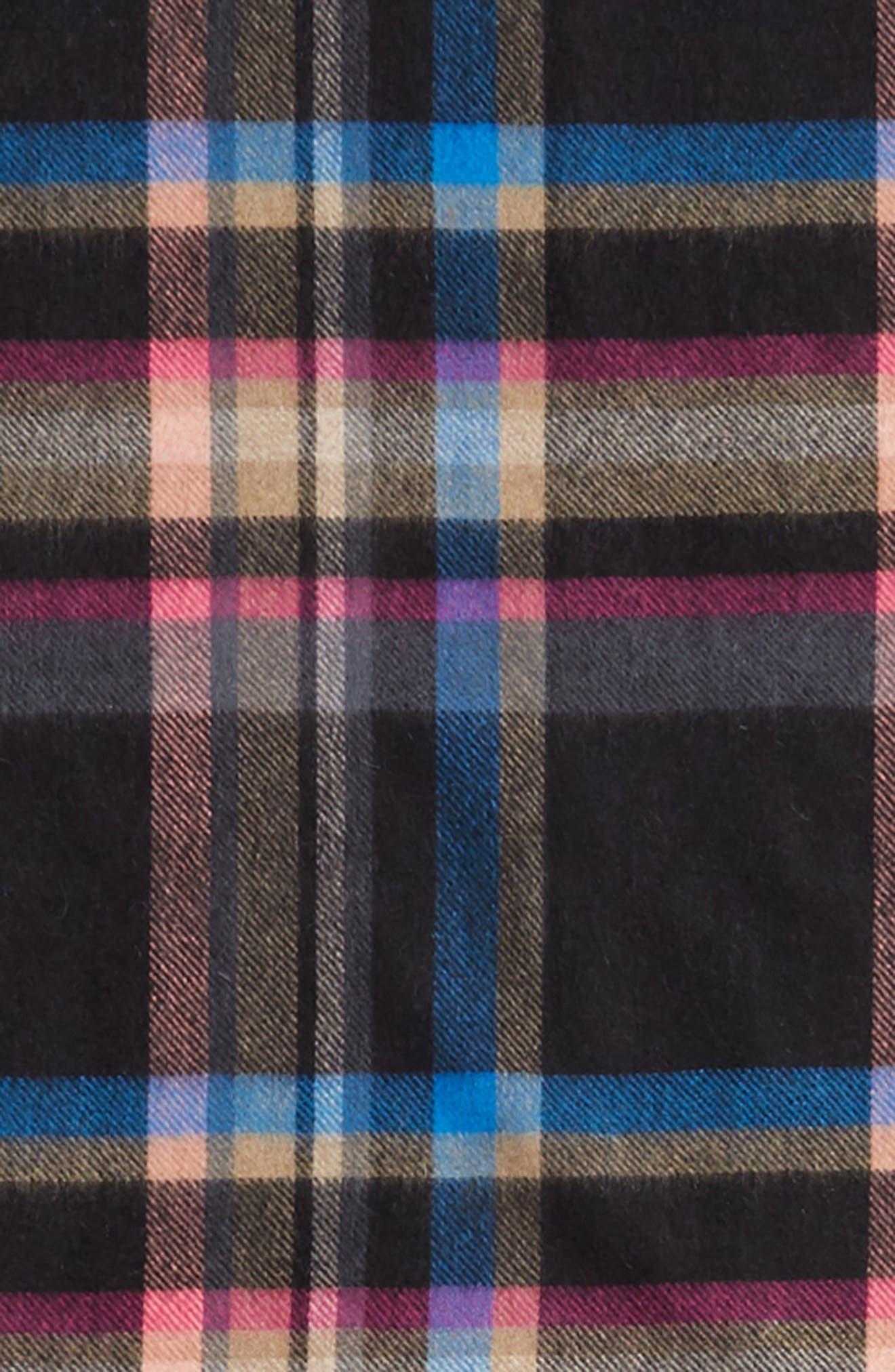 Plaid Cashmere Wrap Scarf,                             Alternate thumbnail 4, color,                             BLACK COMBO