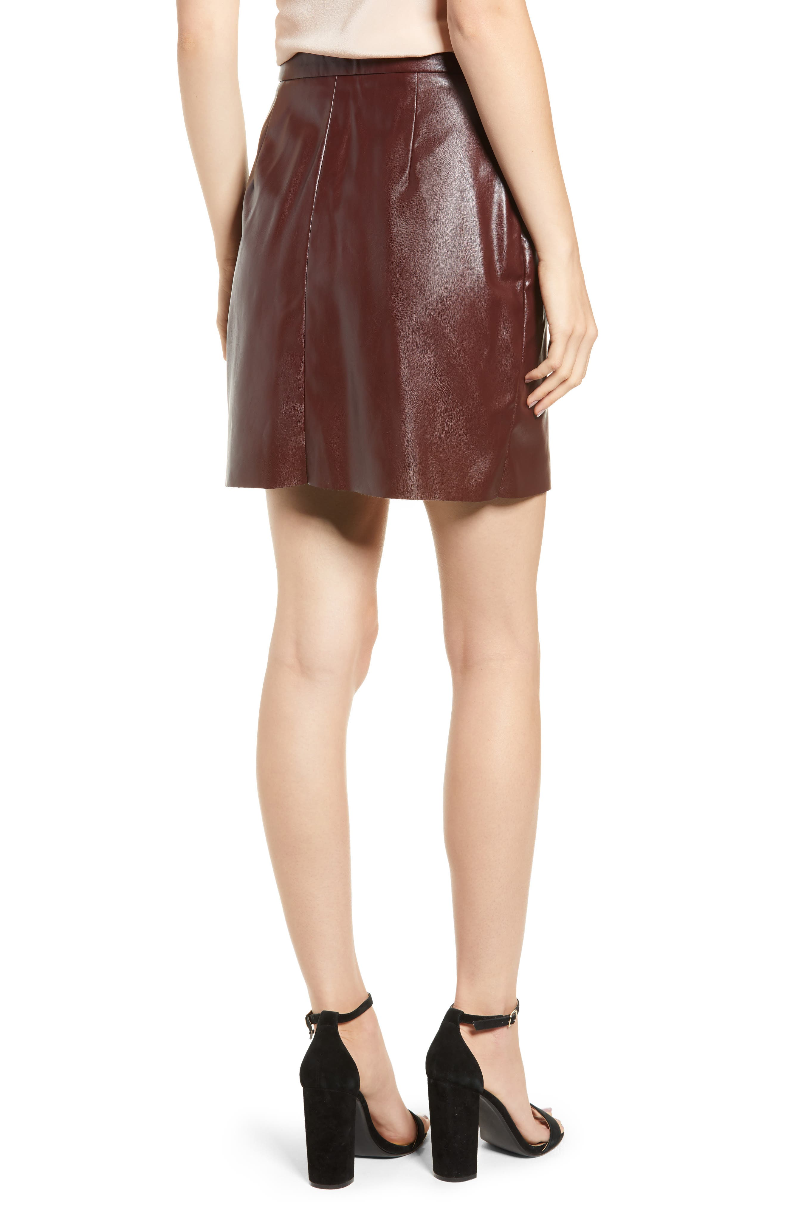 Bishop + Young Exposed Zip Miniskirt,                             Alternate thumbnail 2, color,                             BURGUNDY
