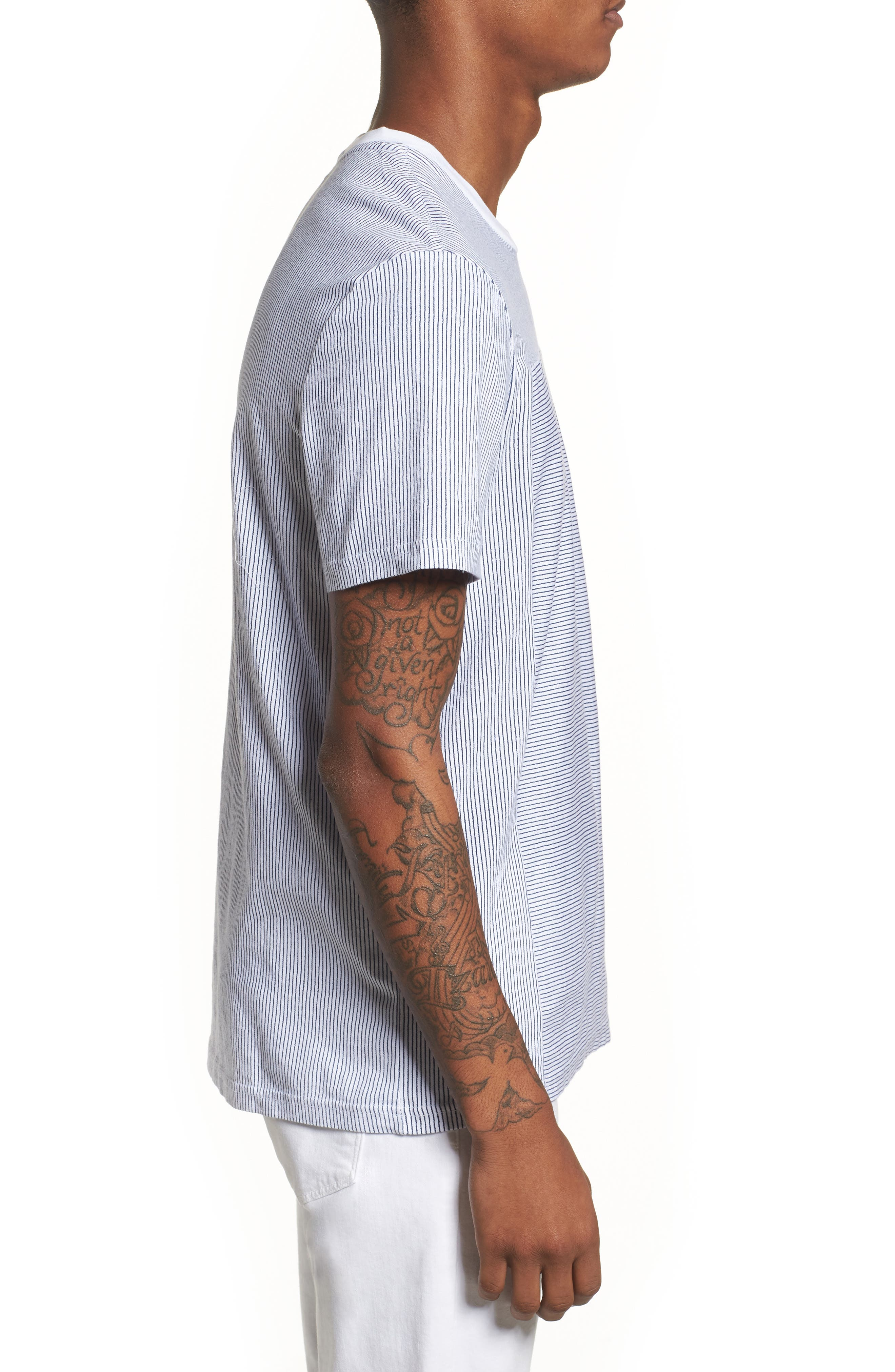 Pinstripe Pocket T-Shirt,                             Alternate thumbnail 3, color,