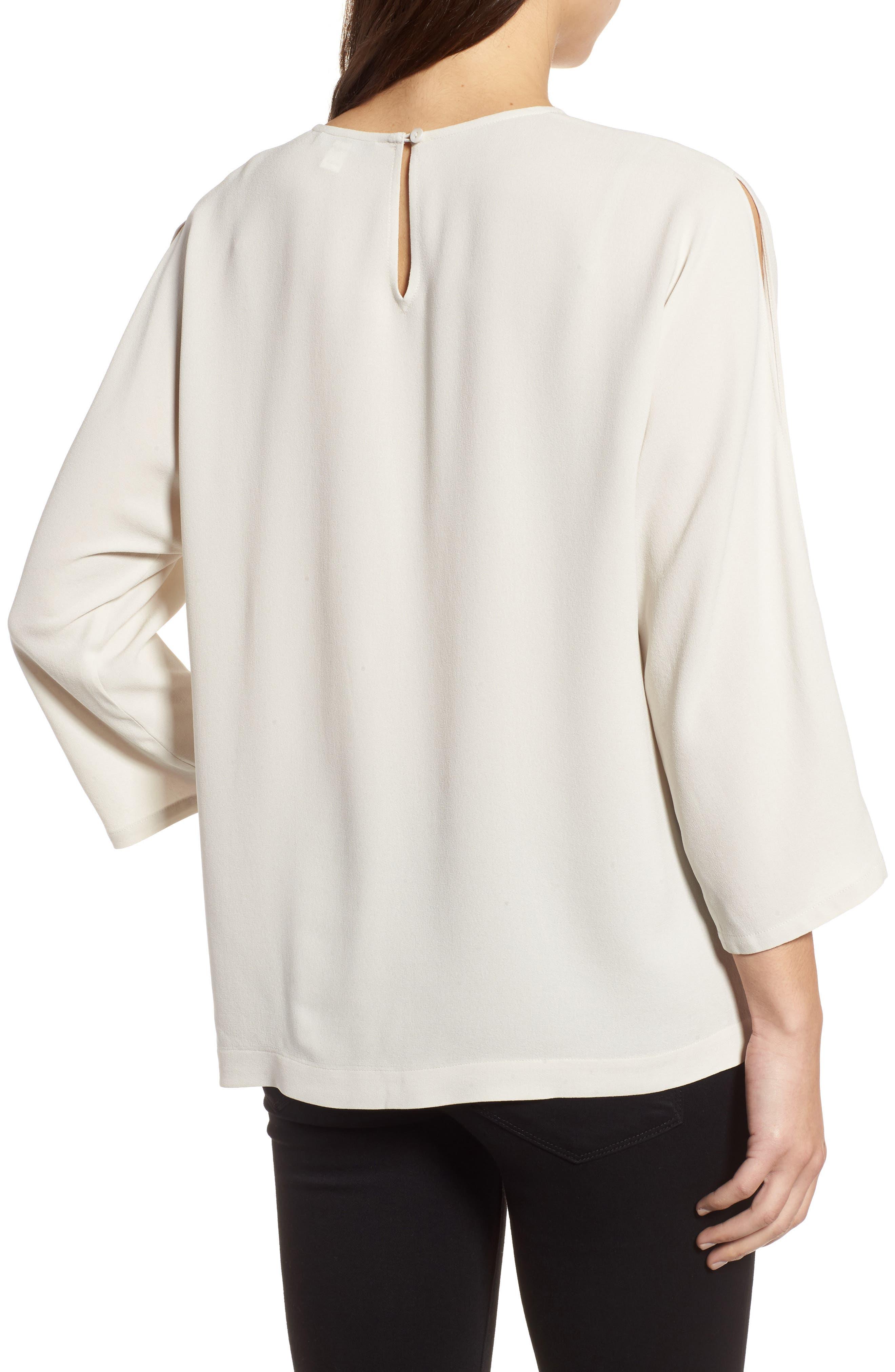Slit Sleeve Silk Top,                             Alternate thumbnail 5, color,