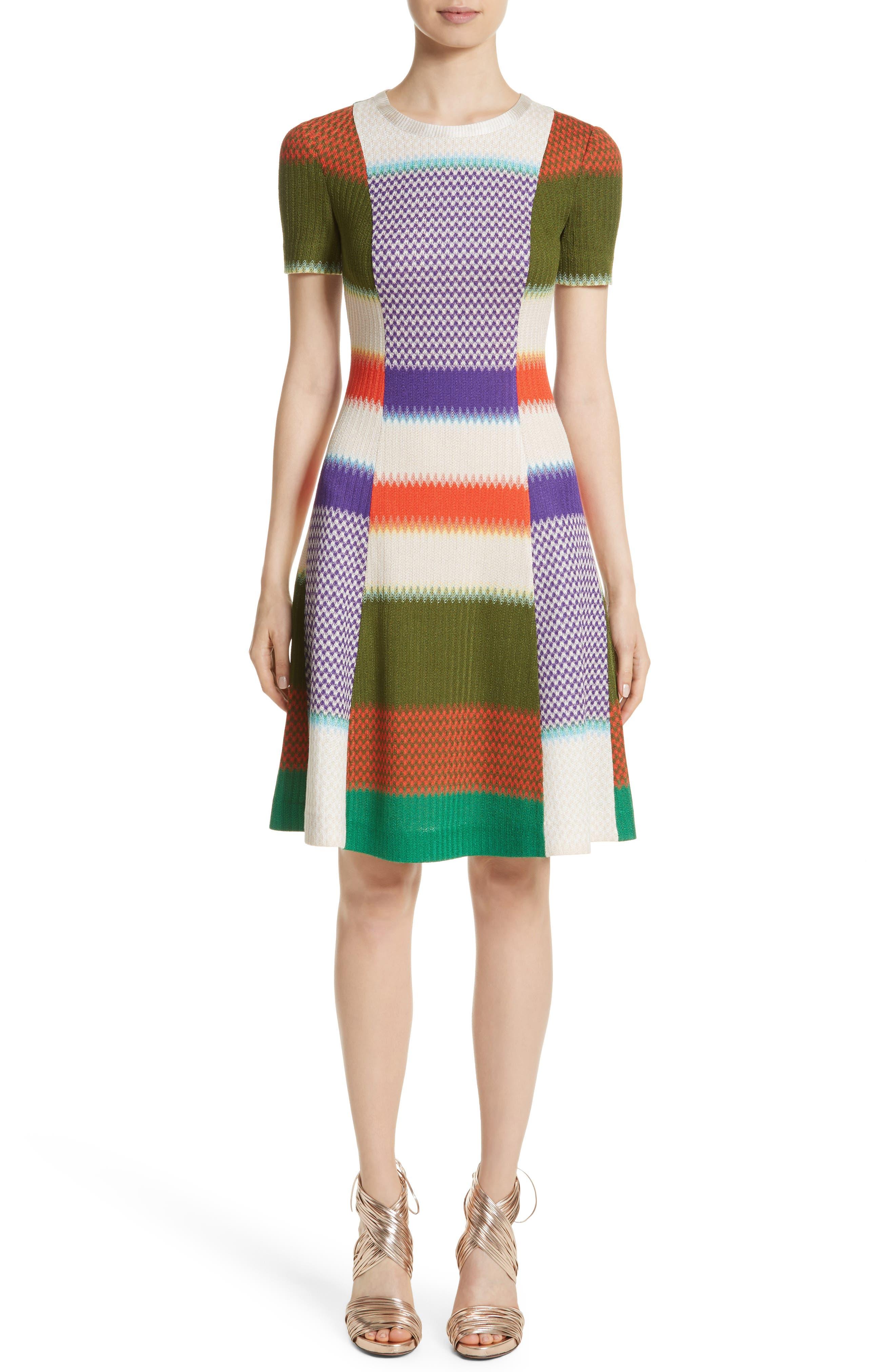Multi Knit Flare Dress,                             Main thumbnail 1, color,                             540