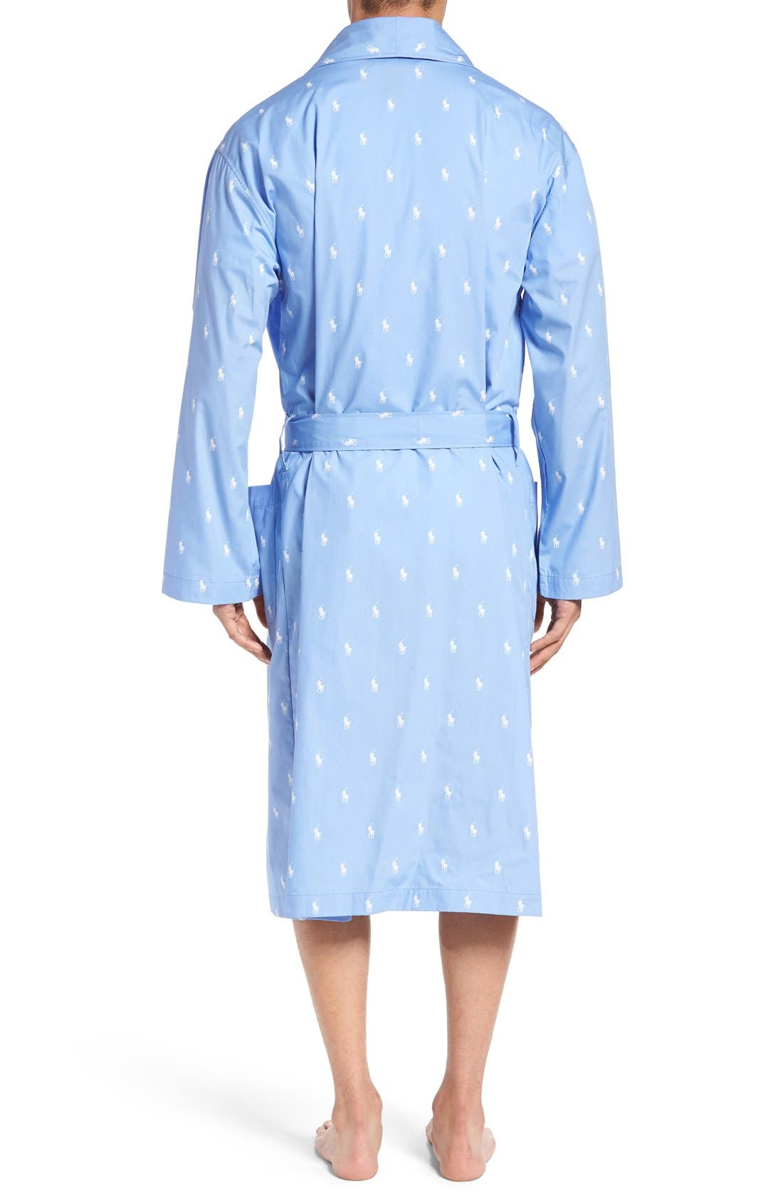 POLO RALPH LAUREN,                             'Polo Player' Cotton Robe,                             Alternate thumbnail 2, color,                             BEACH BLUE