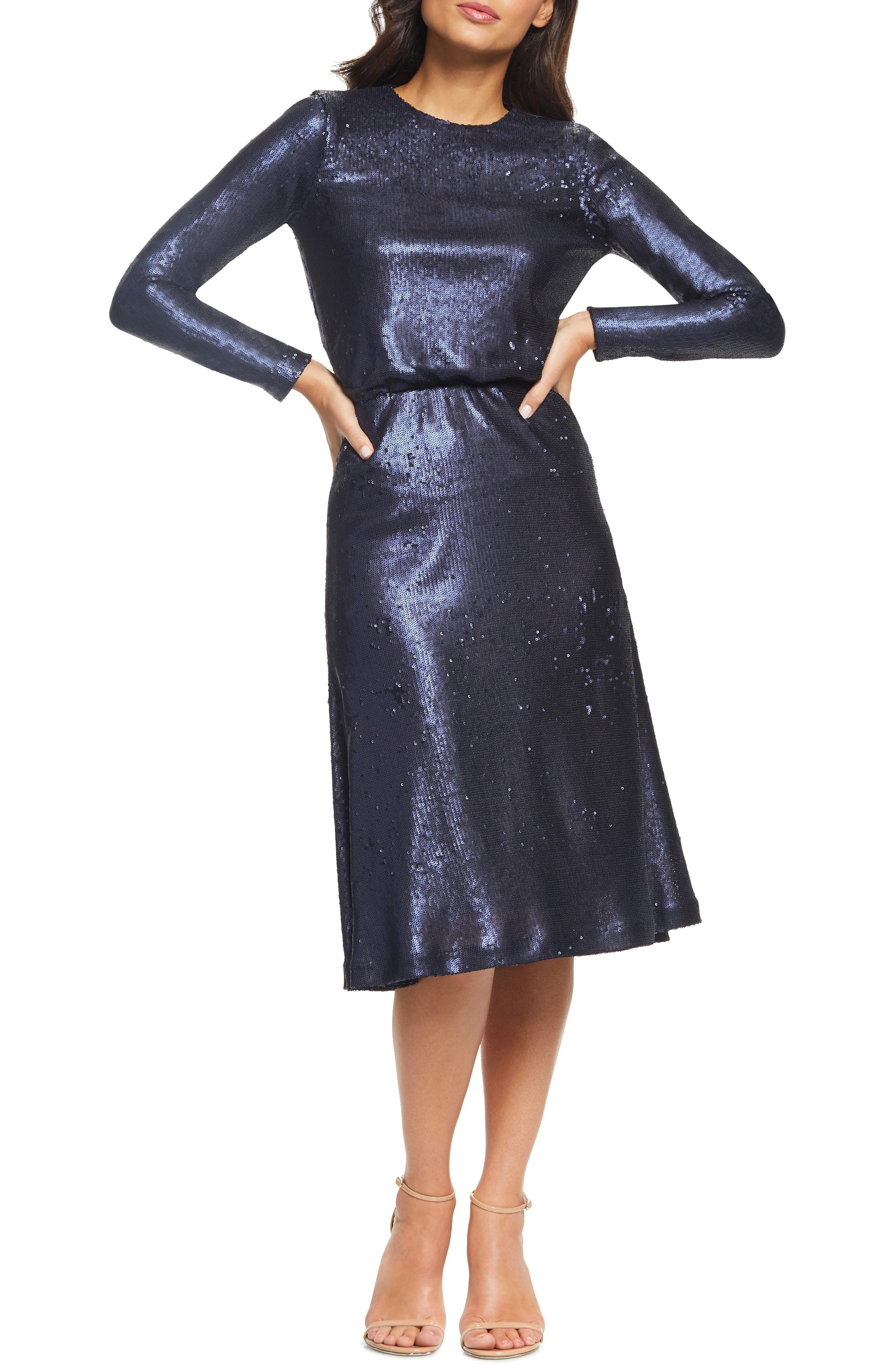 Dress The Population Jean Sequin Dress, Blue