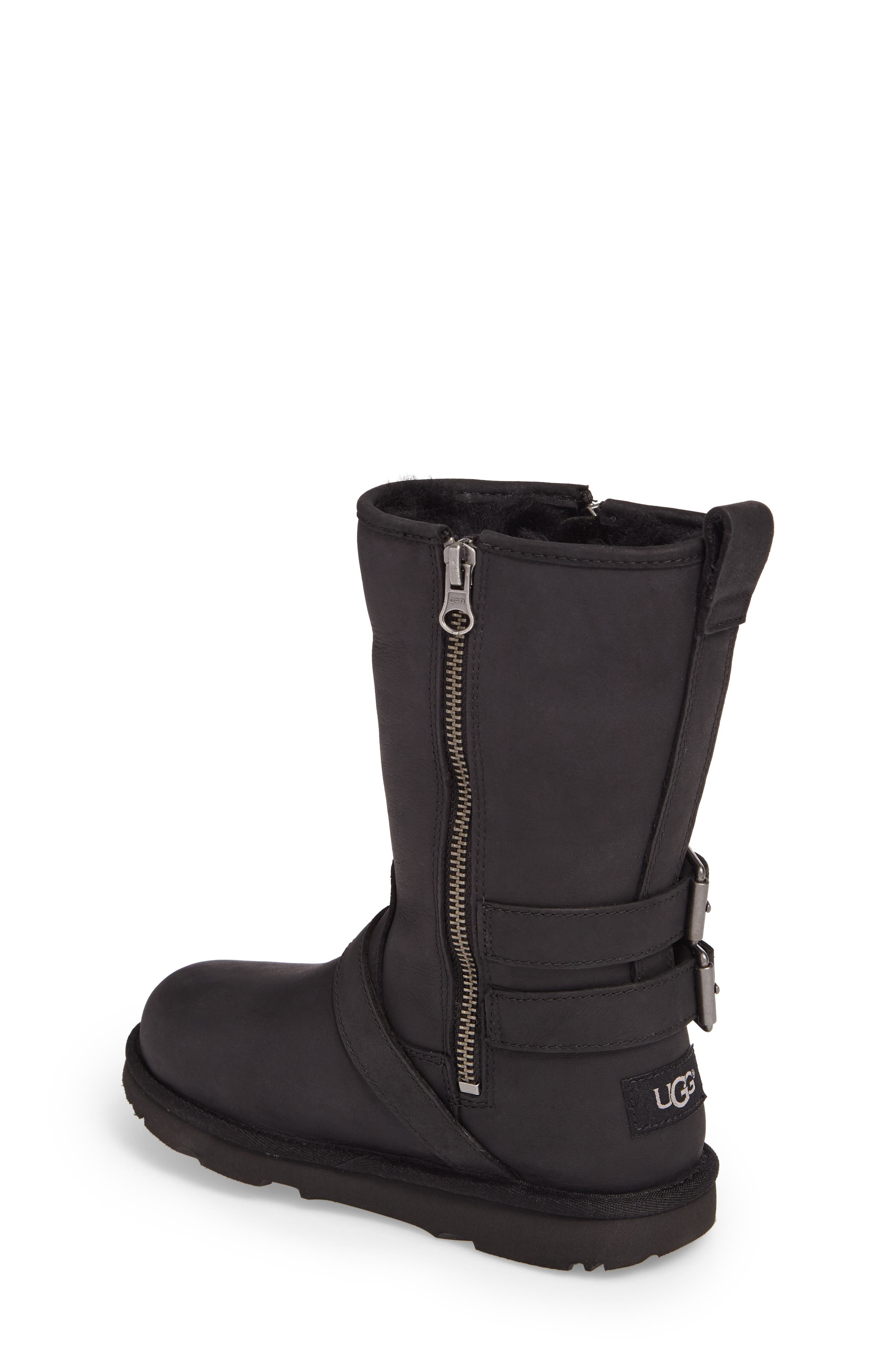 Kaila Genuine Shearling Buckle Strap Boot,                             Alternate thumbnail 2, color,                             001