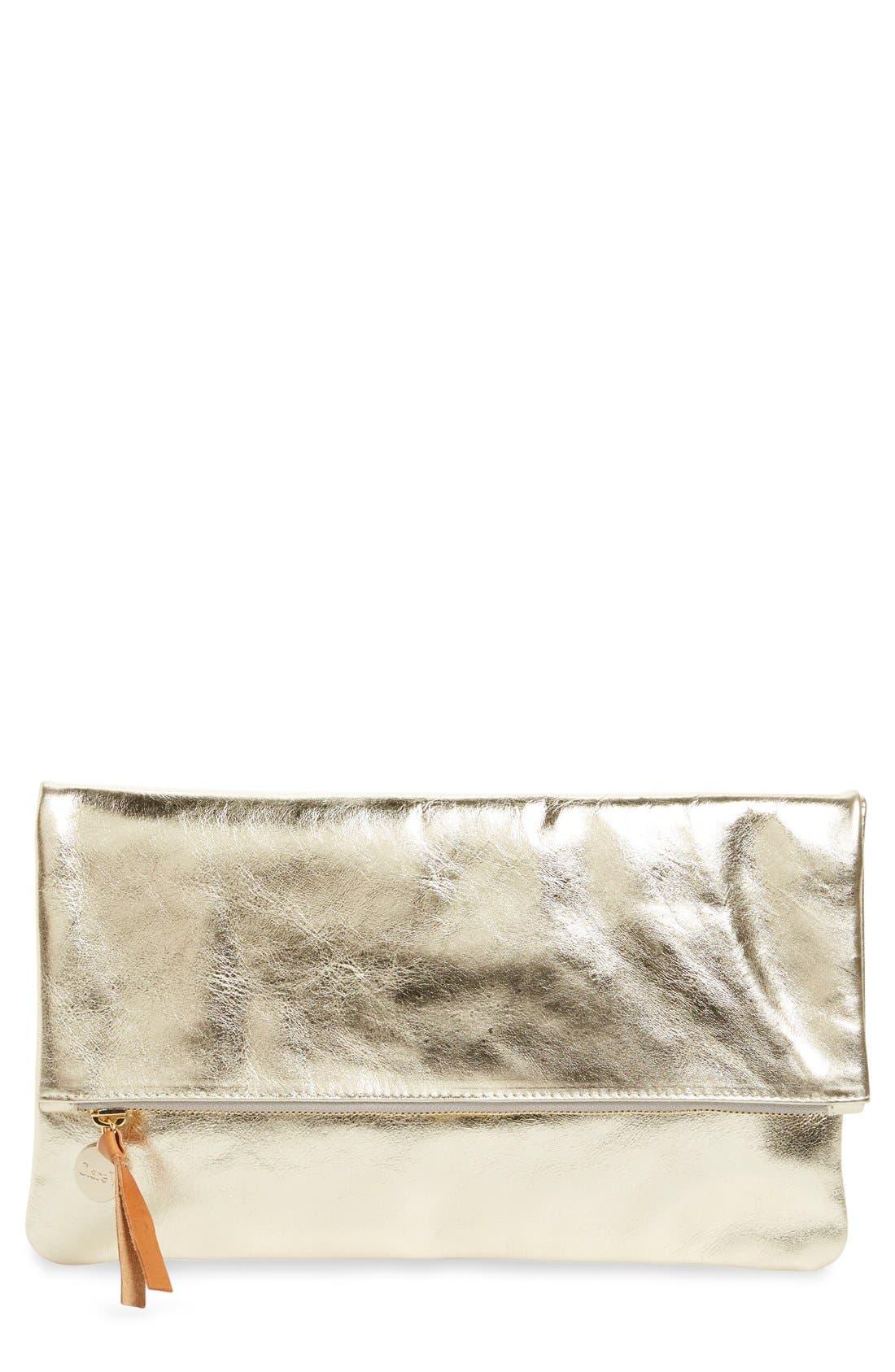 'Maison' Metallic Leather Foldover Clutch, Main, color, 710