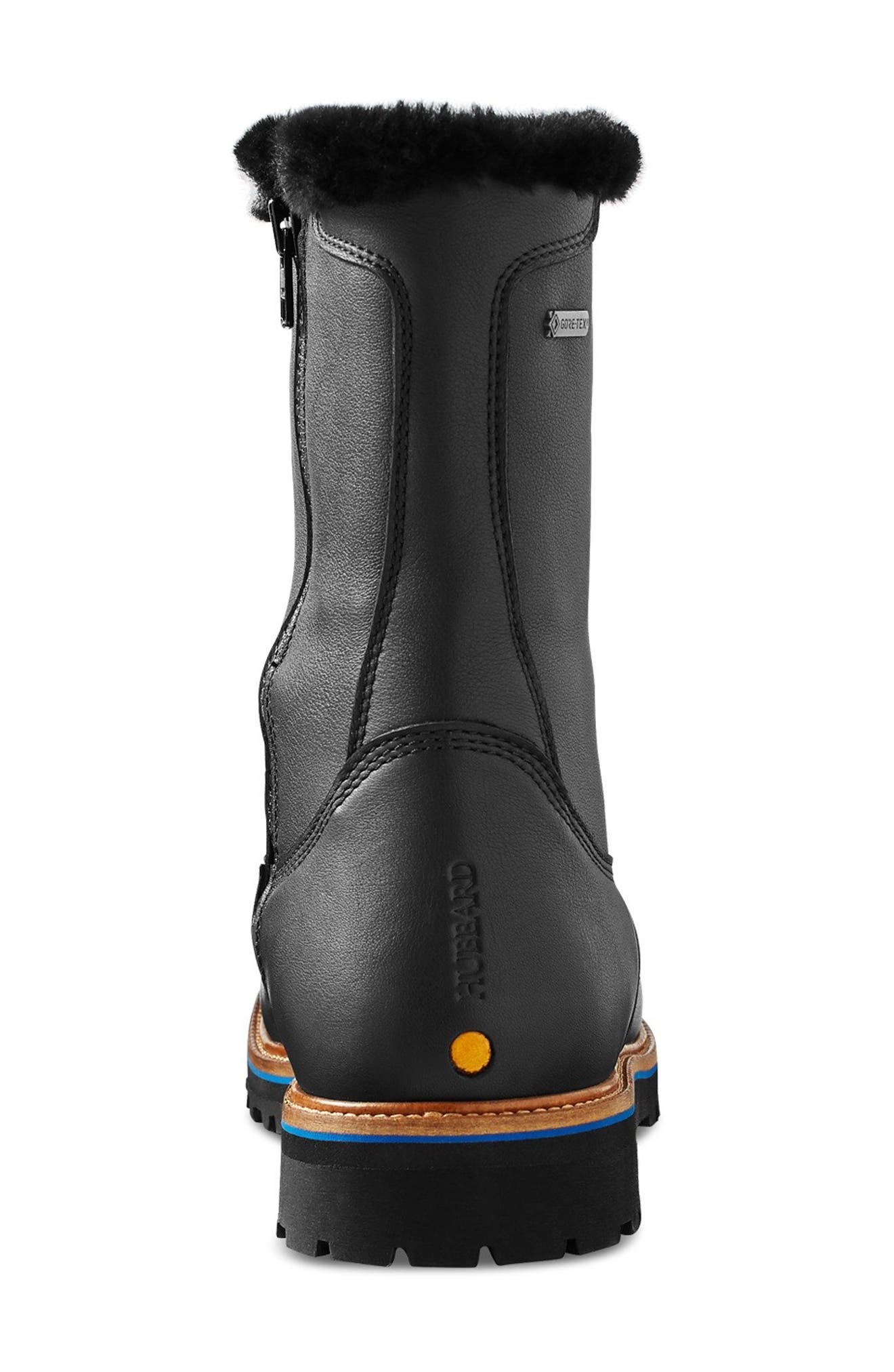 Snow Lodge Waterproof Gore-Tex<sup>®</sup> Genuine Shearling Lined Boot,                             Alternate thumbnail 7, color,                             BLACK LEATHER