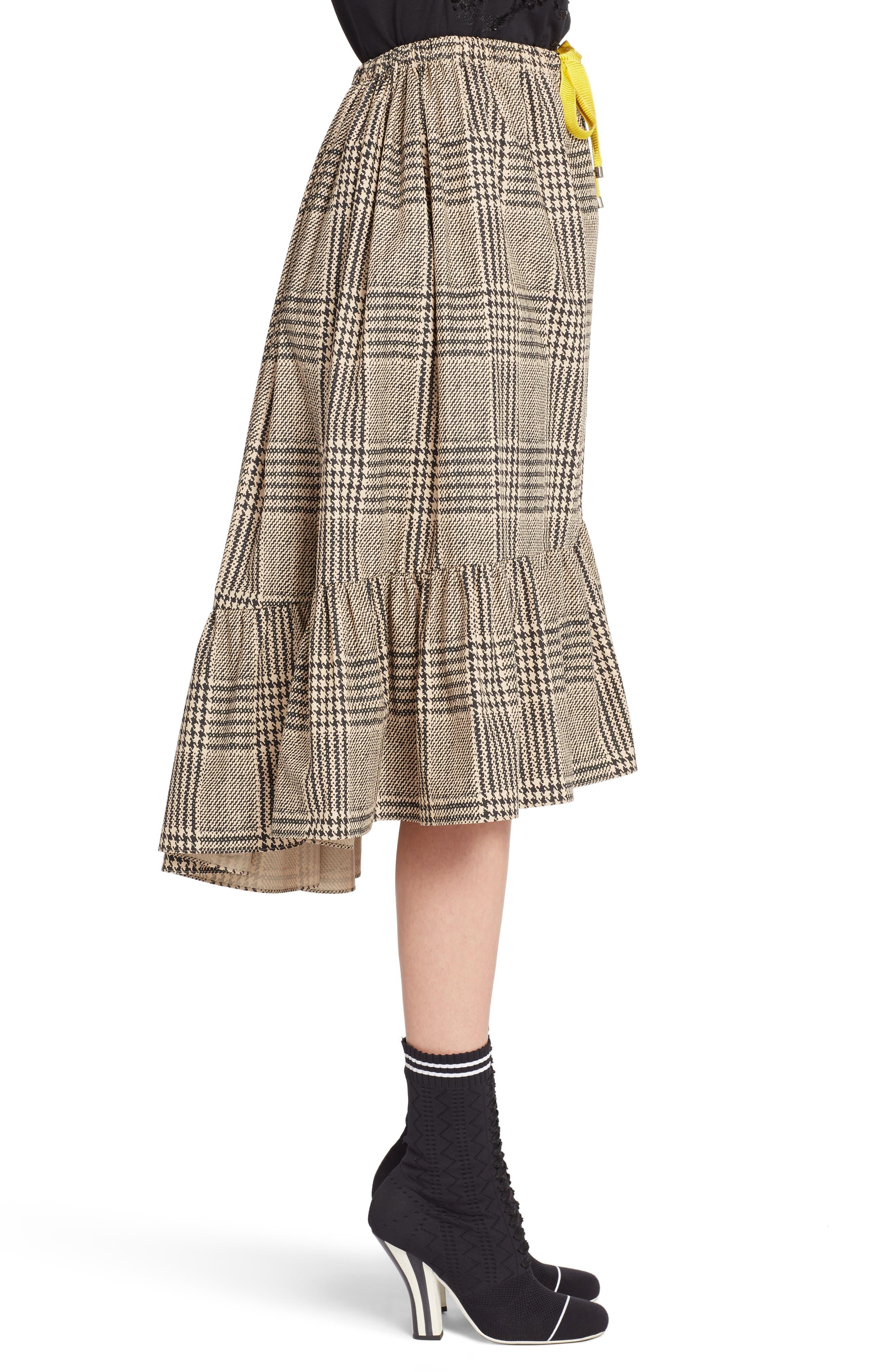 Prince of Wales Ruffle Midi Skirt,                             Alternate thumbnail 3, color,                             001