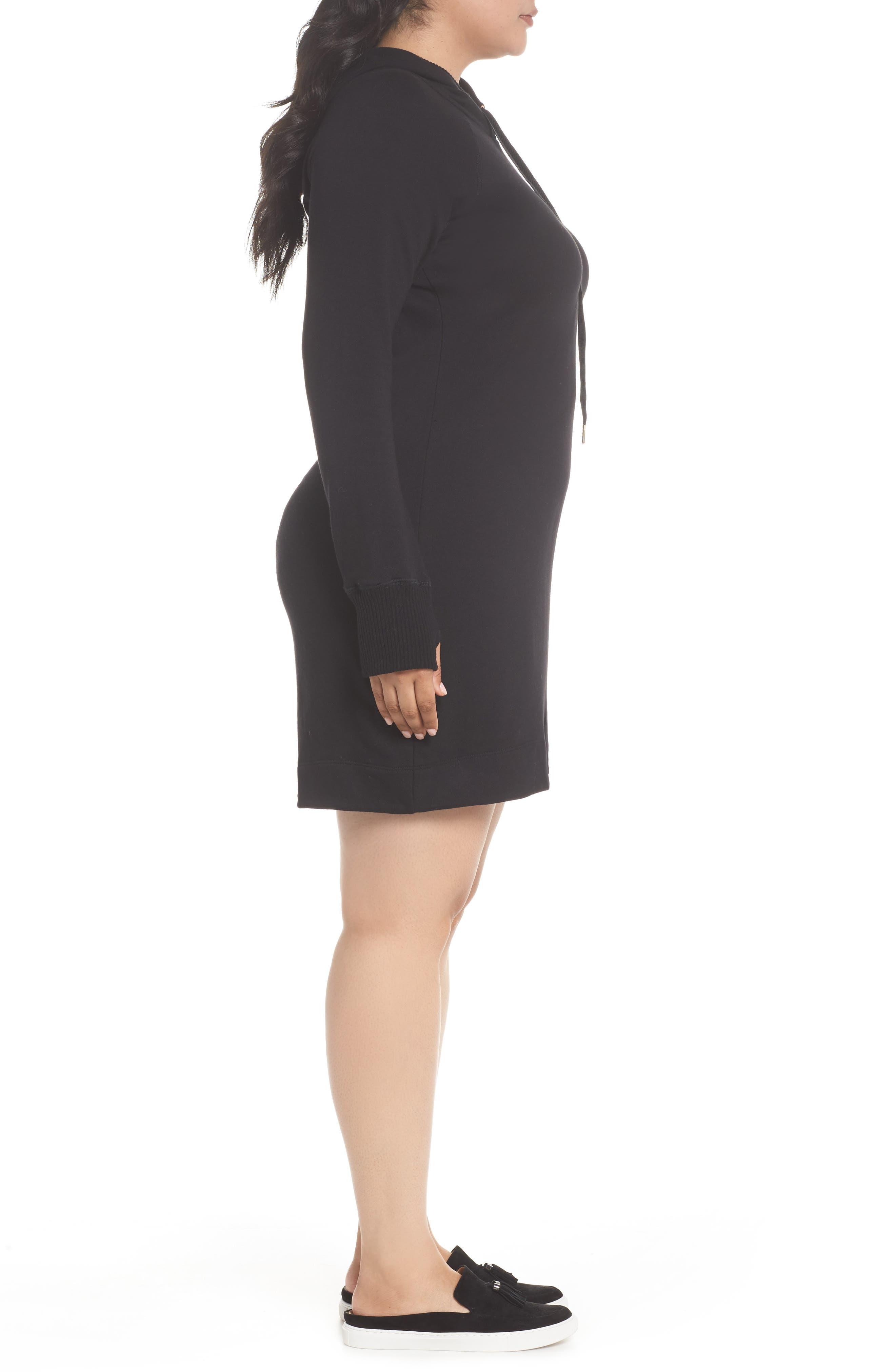 CASLON<SUP>®</SUP>,                             Off-Duty Hooded Sweatshirt Dress,                             Alternate thumbnail 3, color,                             001