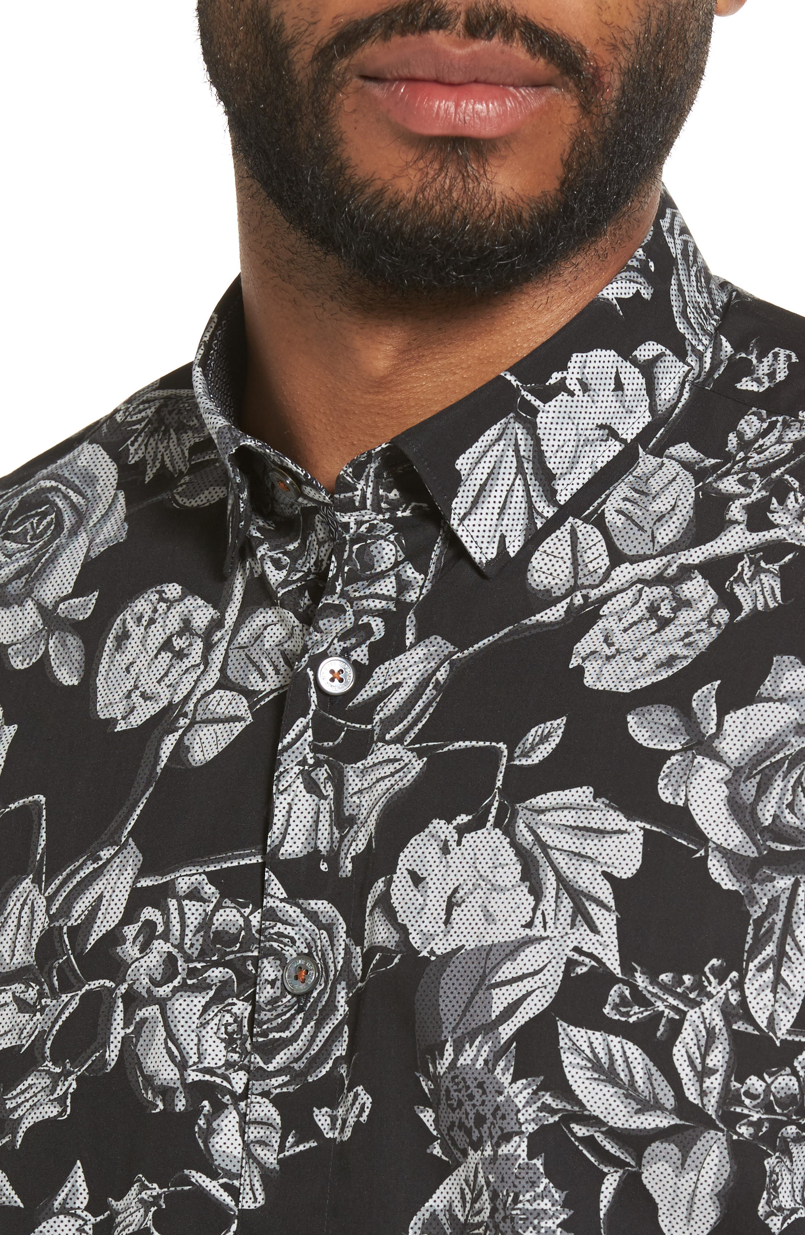 Taxee Floral Print Woven Shirt,                             Alternate thumbnail 4, color,                             001